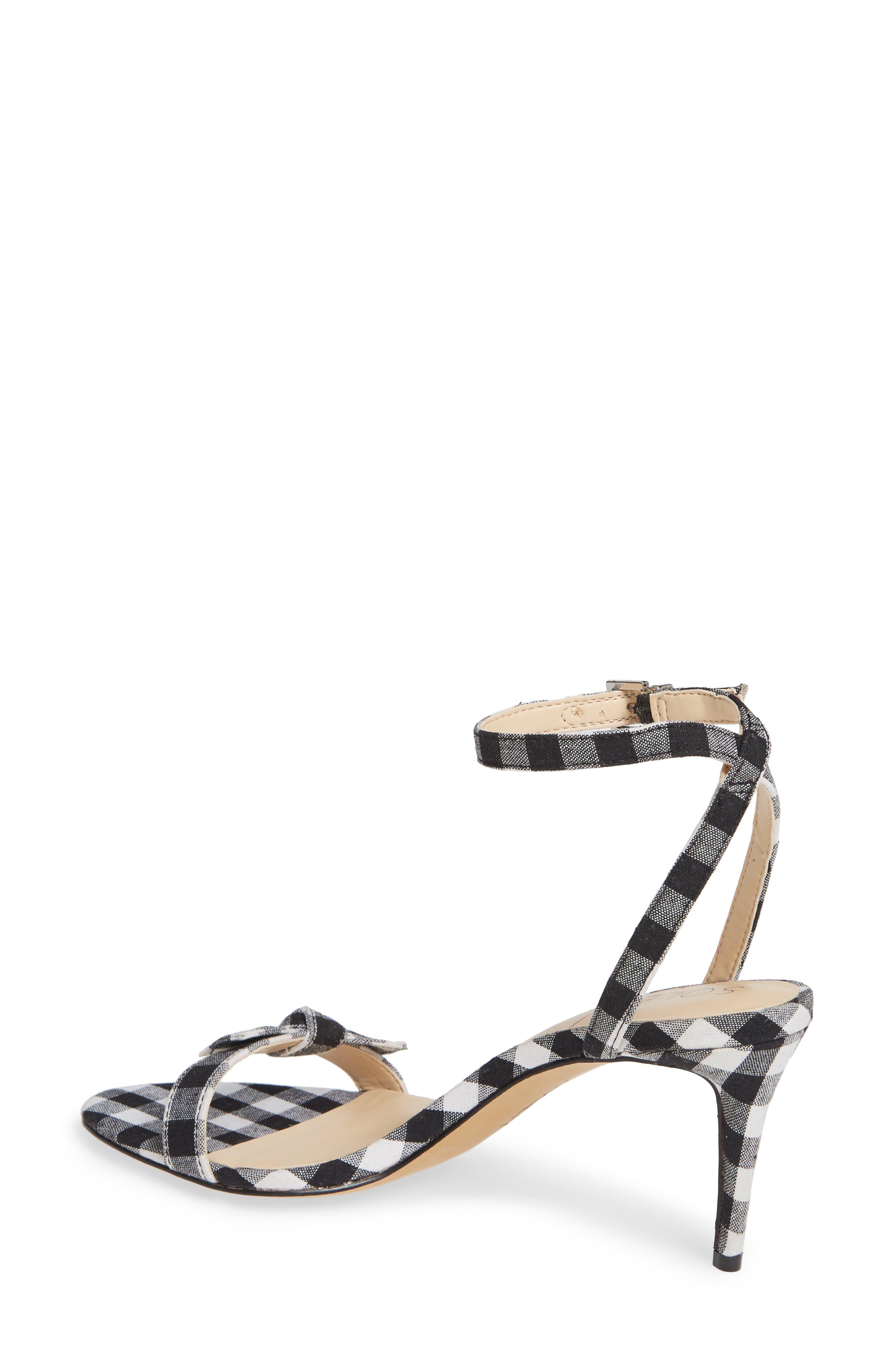 Avrilie Knotted Sandal,                             Alternate thumbnail 2, color,                             BLACK/ WHITE GINGHAM