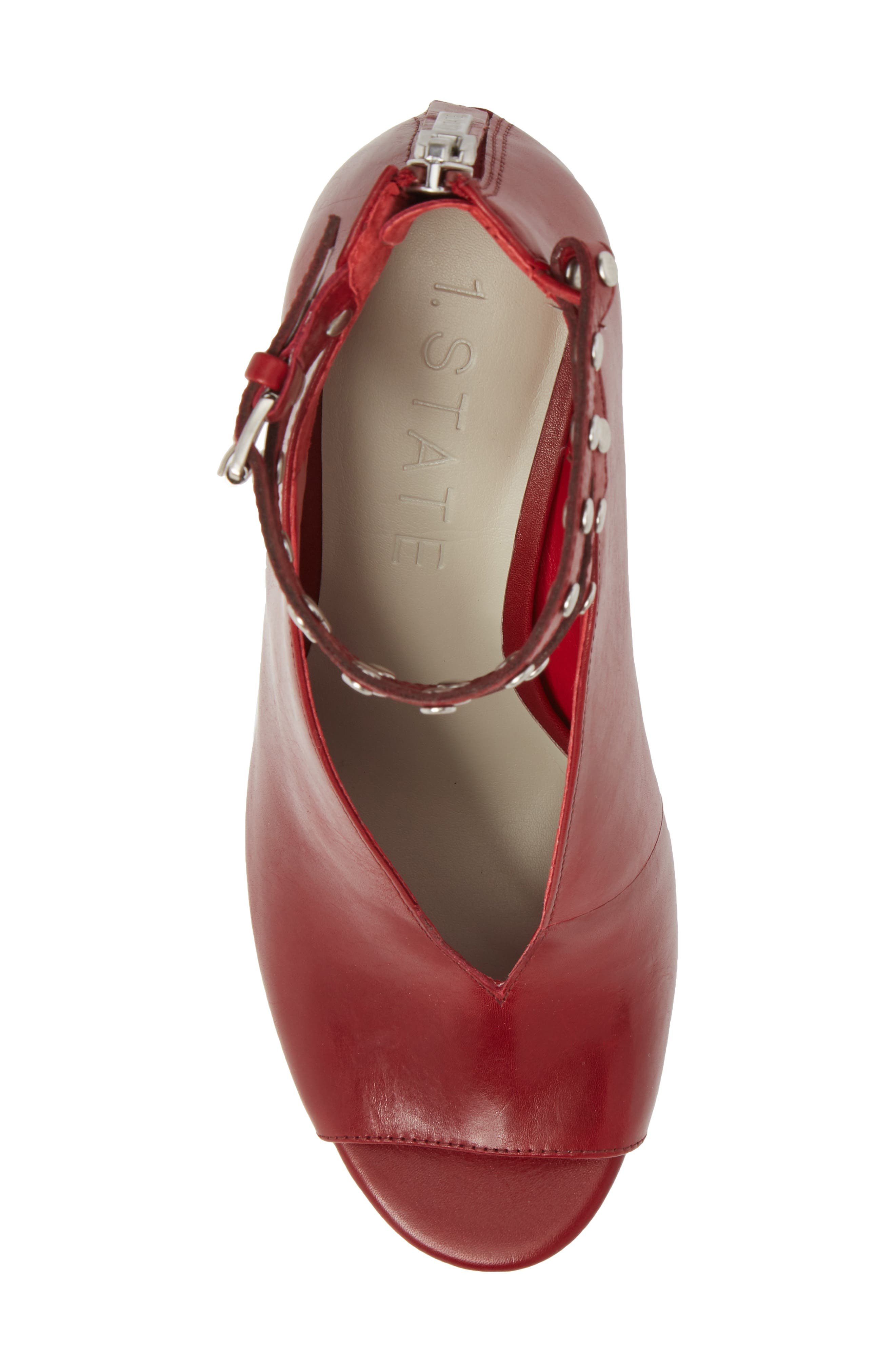 1. STATE Sall Ankle Strap Open Toe Pump,                             Alternate thumbnail 5, color,                             SCARLET LEATHER