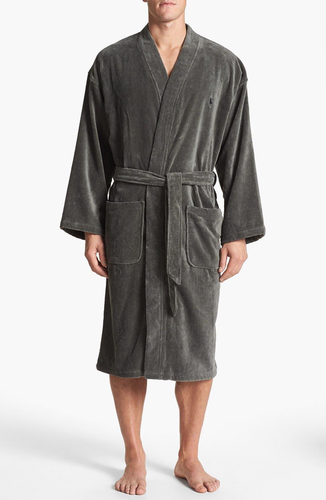 Cotton Fleece Robe,                             Main thumbnail 1, color,                             001