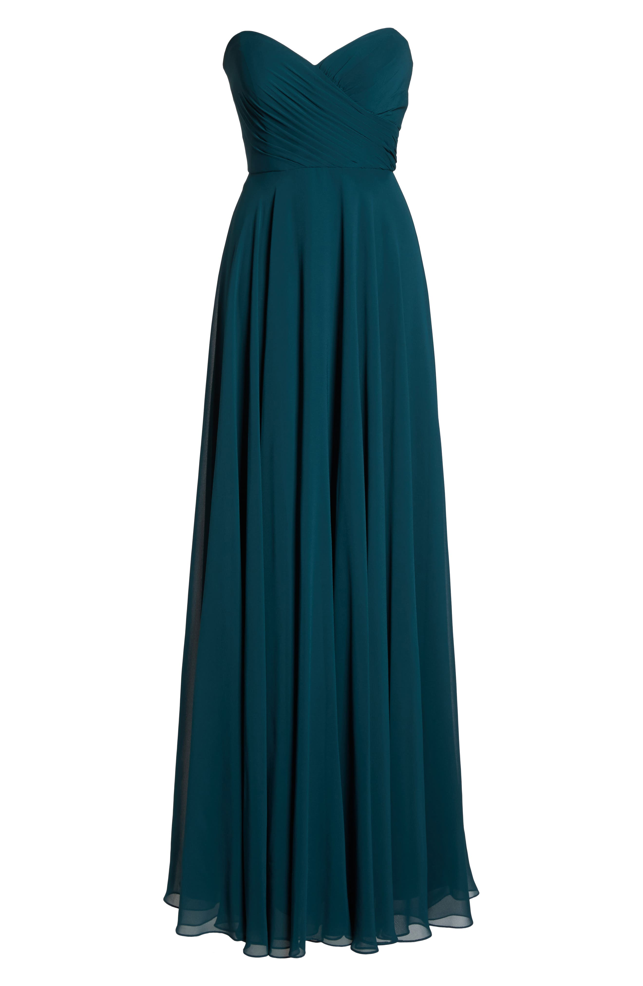 JENNY YOO,                             Adeline Strapless Chiffon Gown,                             Alternate thumbnail 6, color,                             444