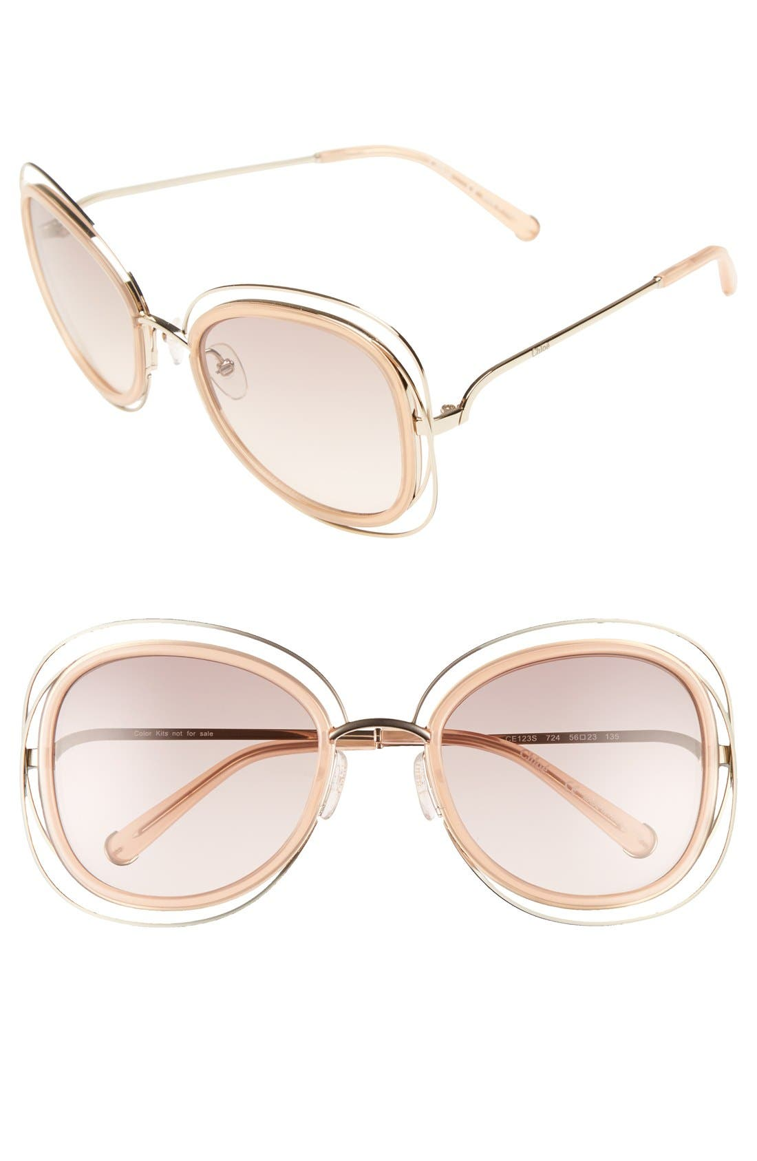 'Carlina' 56mm Gradient Sunglasses,                             Main thumbnail 1, color,                             710