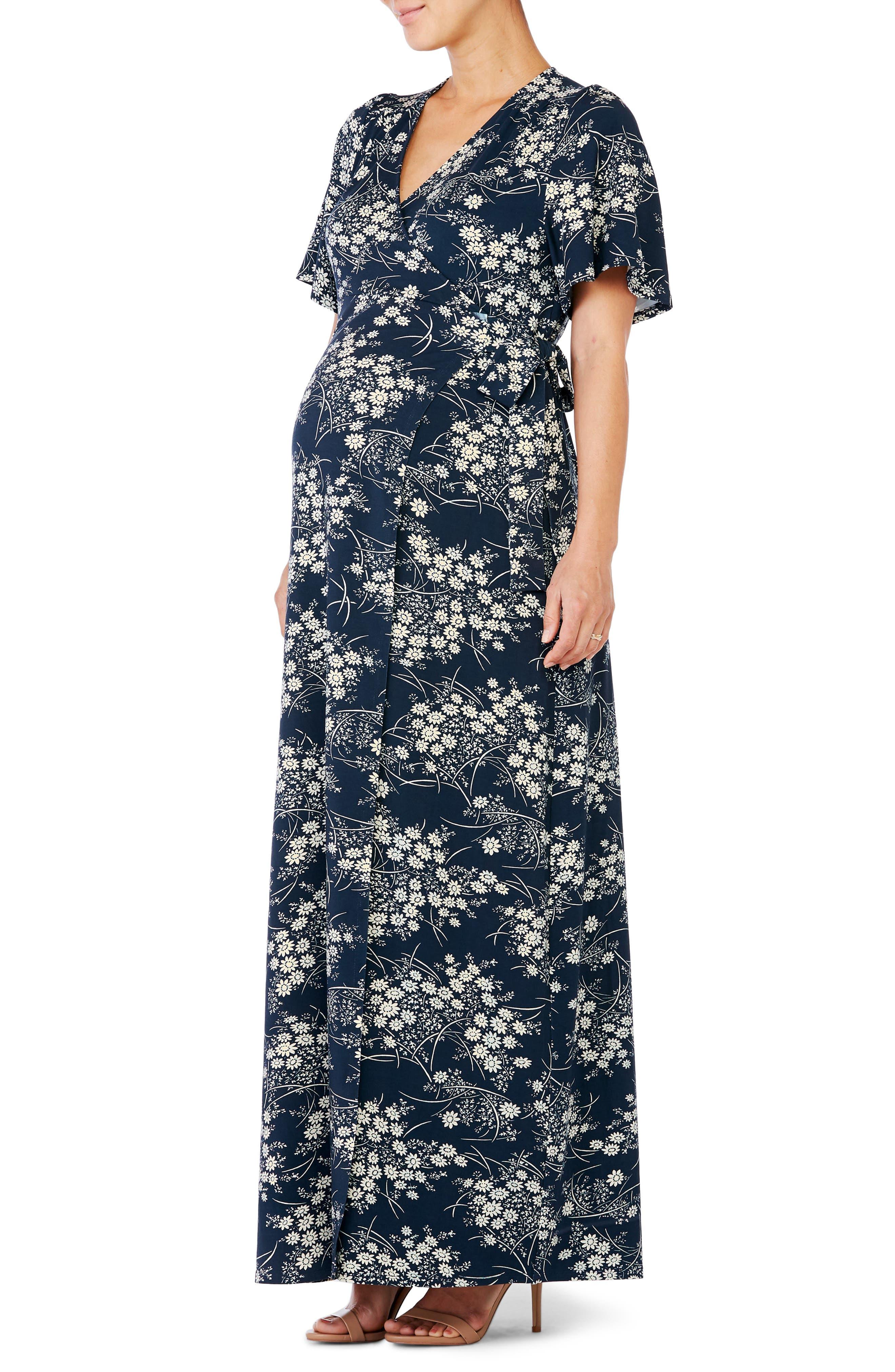 Ingrid & Isabel Flutter Sleeve Knit Maternity/nursing Maxi Dress, White