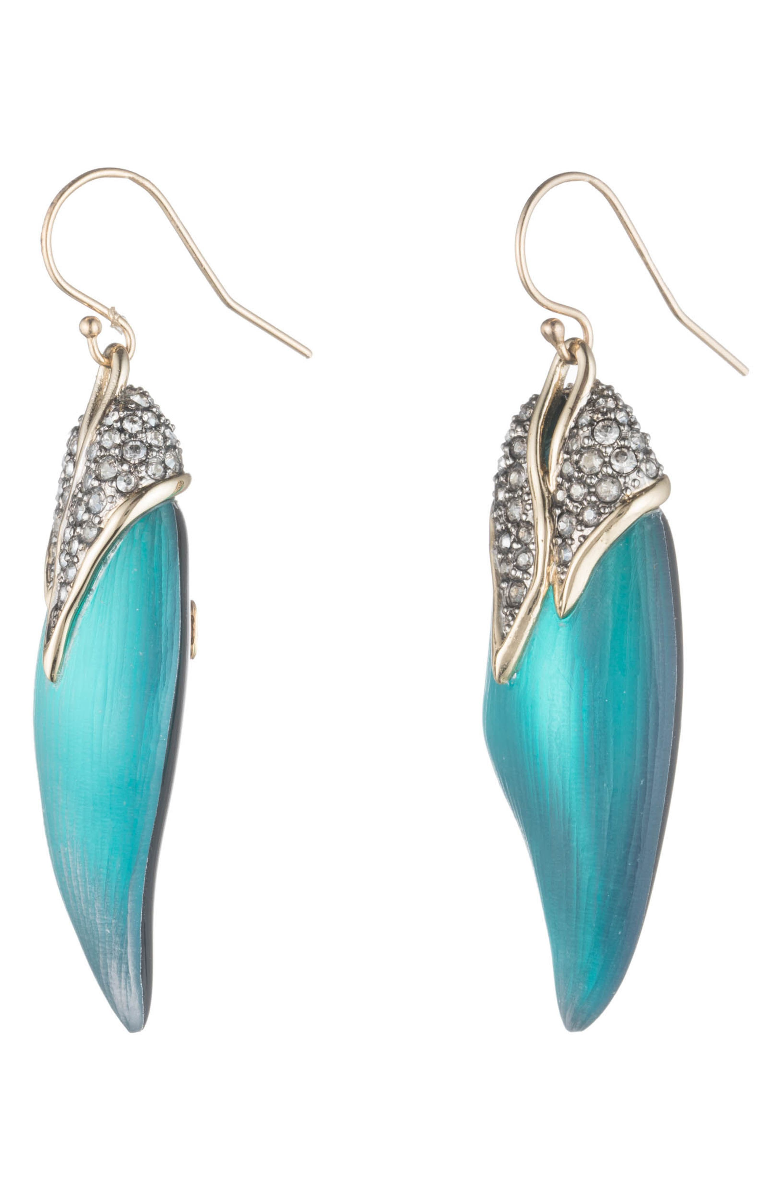Crystal Encrusted Capped Feather Earrings,                             Alternate thumbnail 2, color,                             LAKE BLUE