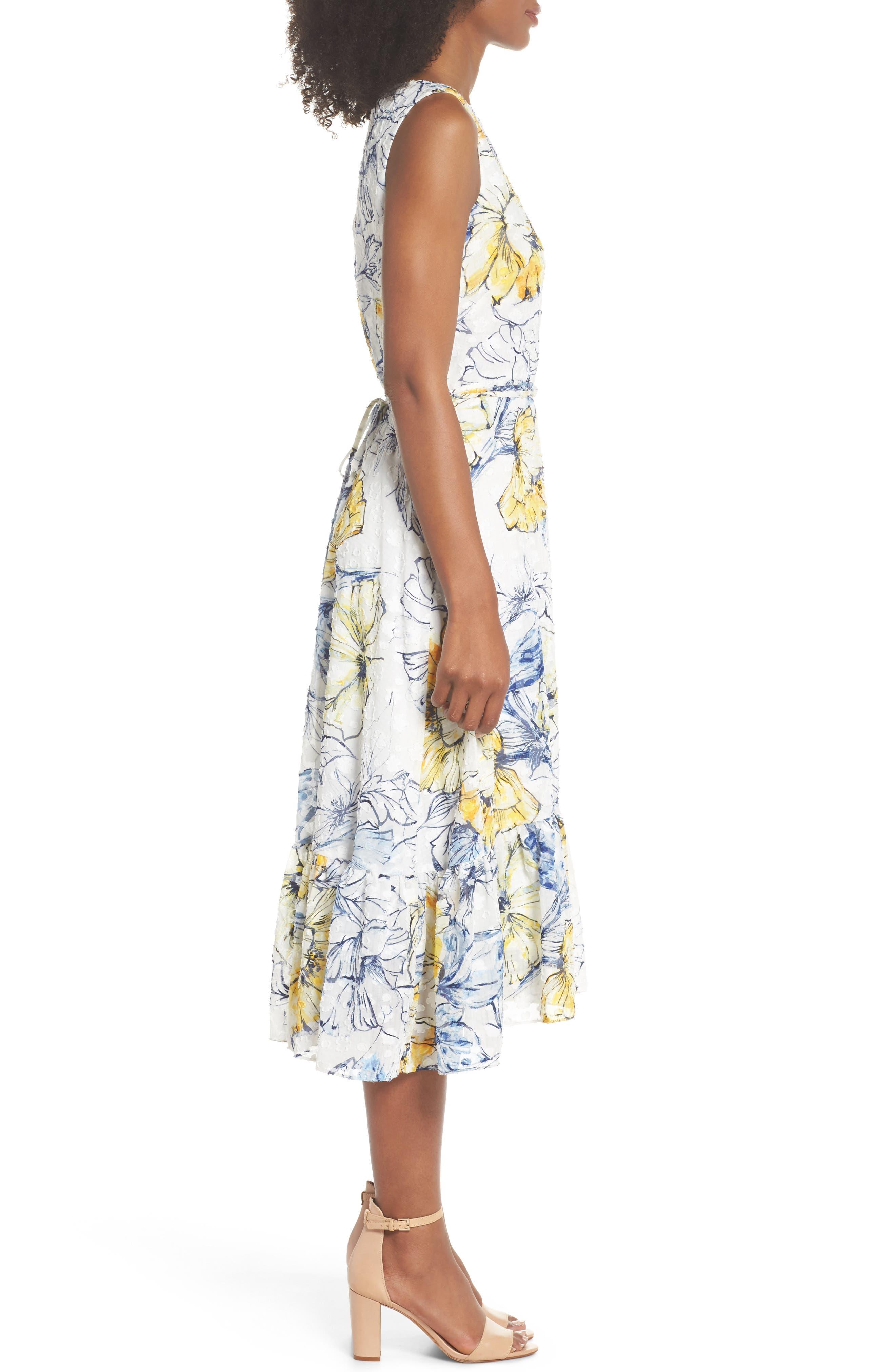 Floral Print Midi Dress,                             Alternate thumbnail 3, color,                             461