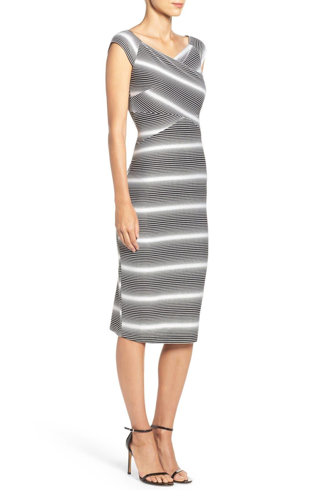 Stripe Jersey Sheath Dress,                             Alternate thumbnail 3, color,                             109