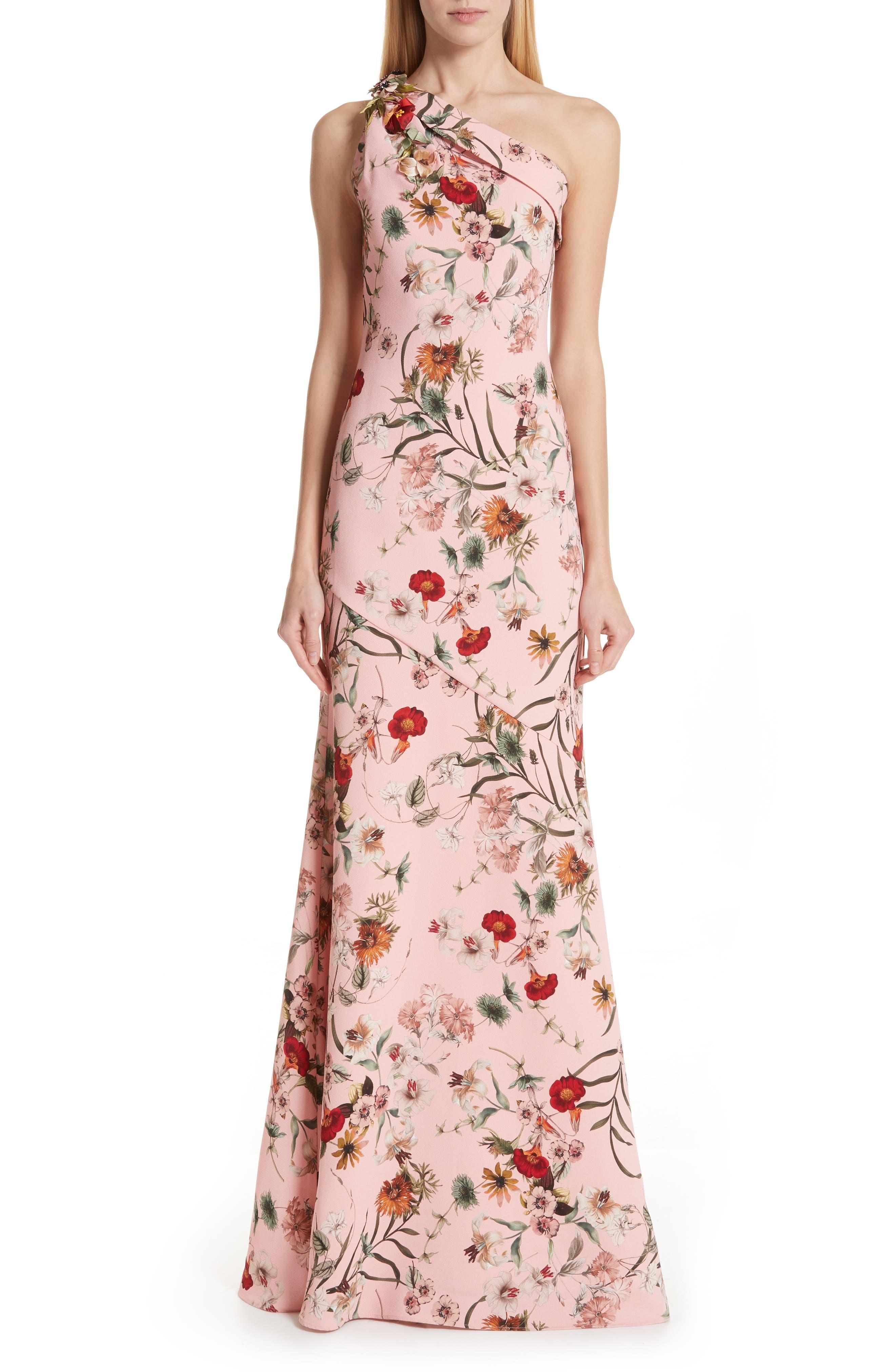 BADGLEY MISCHKA COLLECTION,                             Badgley Mischka One-Shoulder Floral Evening Dress,                             Main thumbnail 1, color,                             650