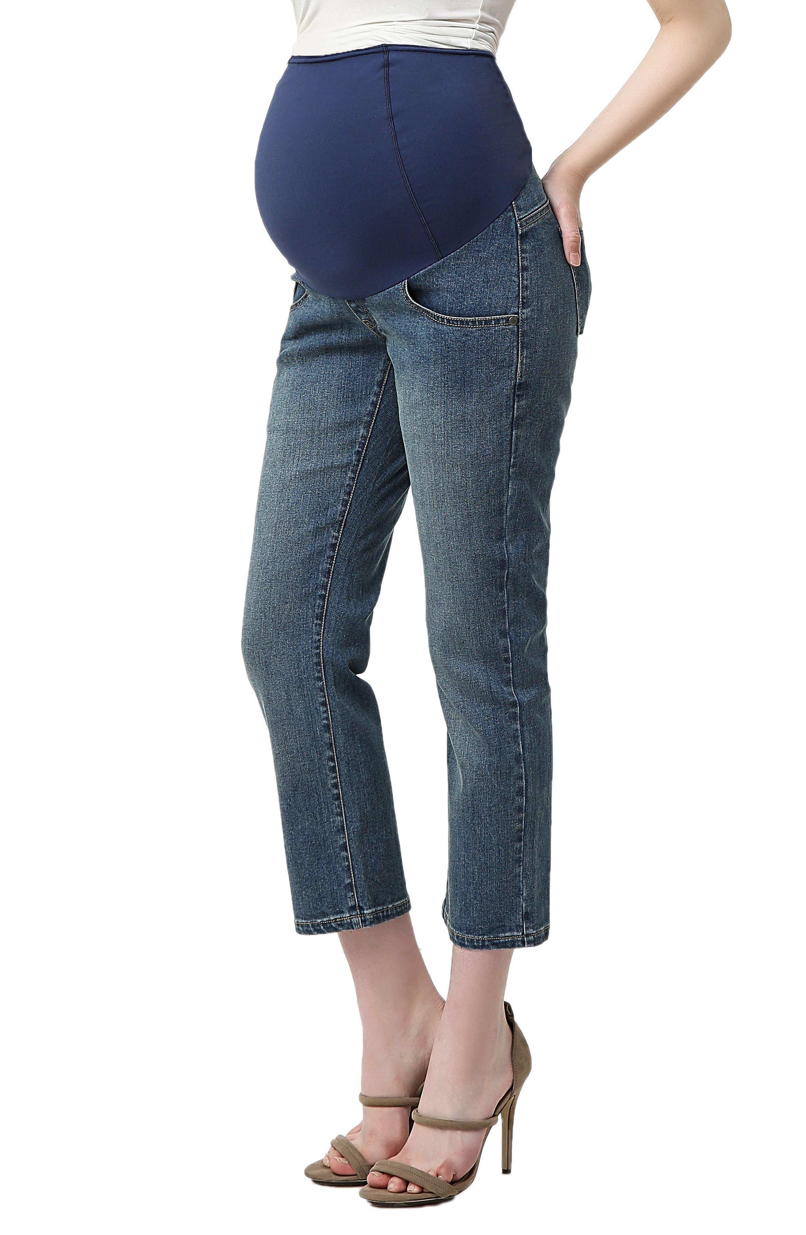 Jodie Crop Girlfriend Maternity Jeans,                             Alternate thumbnail 3, color,                             MEDIUM INDIGO
