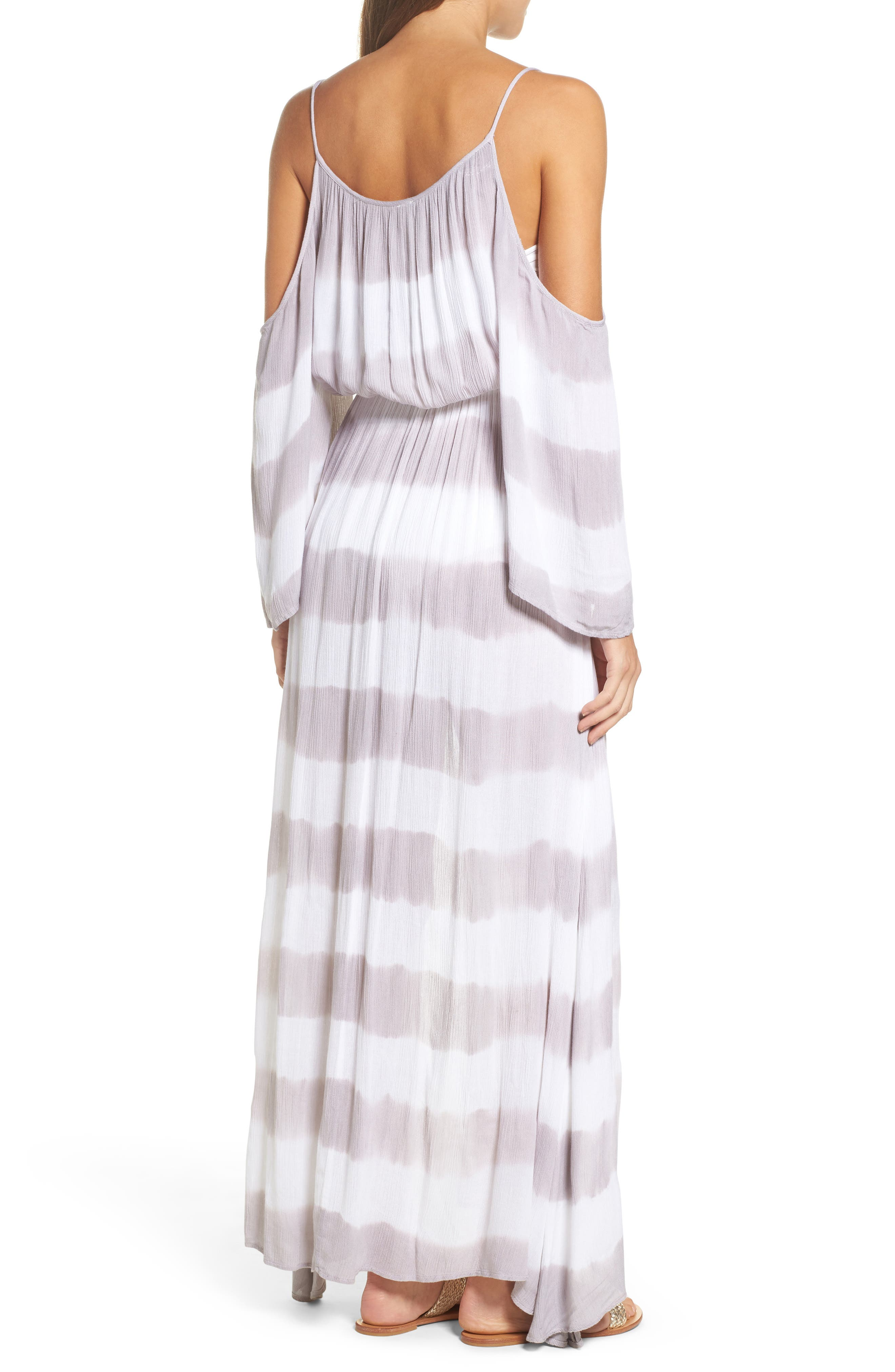 Stripe Maxi Cold Shoulder Dress,                             Alternate thumbnail 2, color,                             032