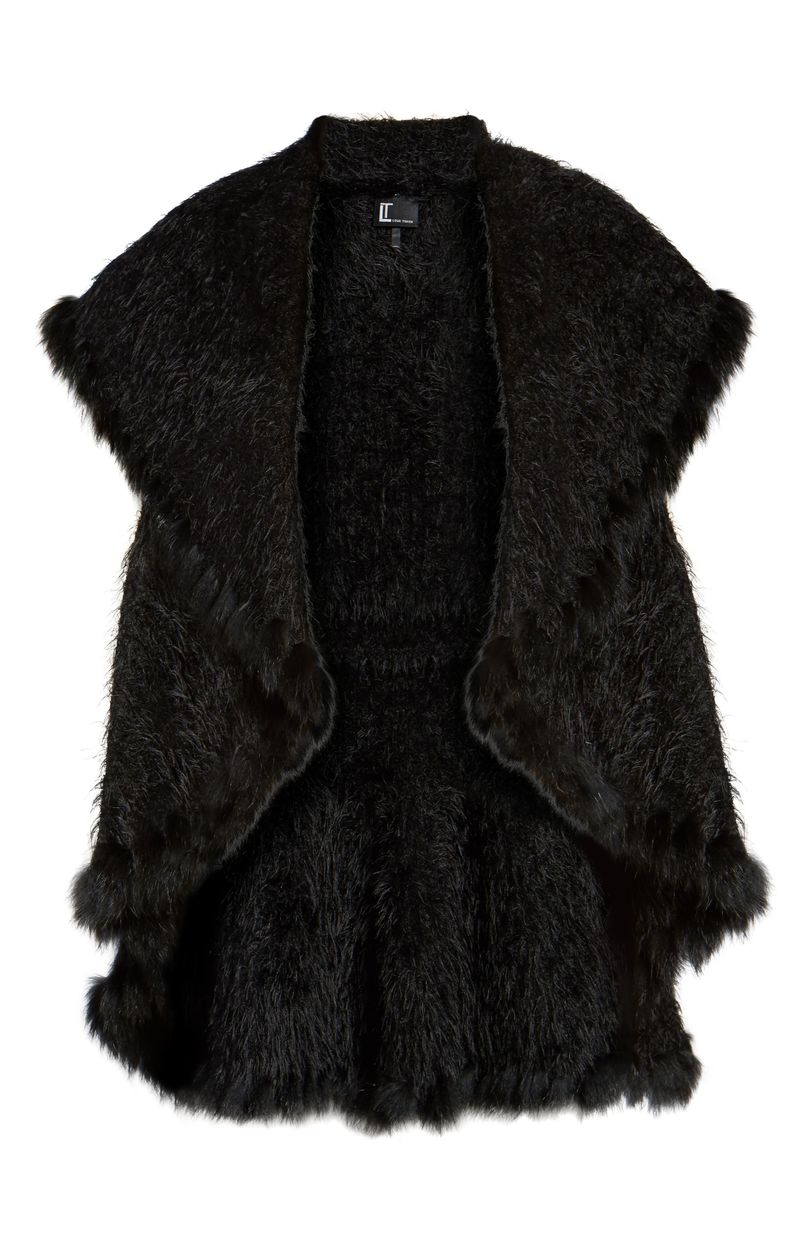 Knit Vest with Genuine Rabbit Fur Trim,                             Alternate thumbnail 13, color,