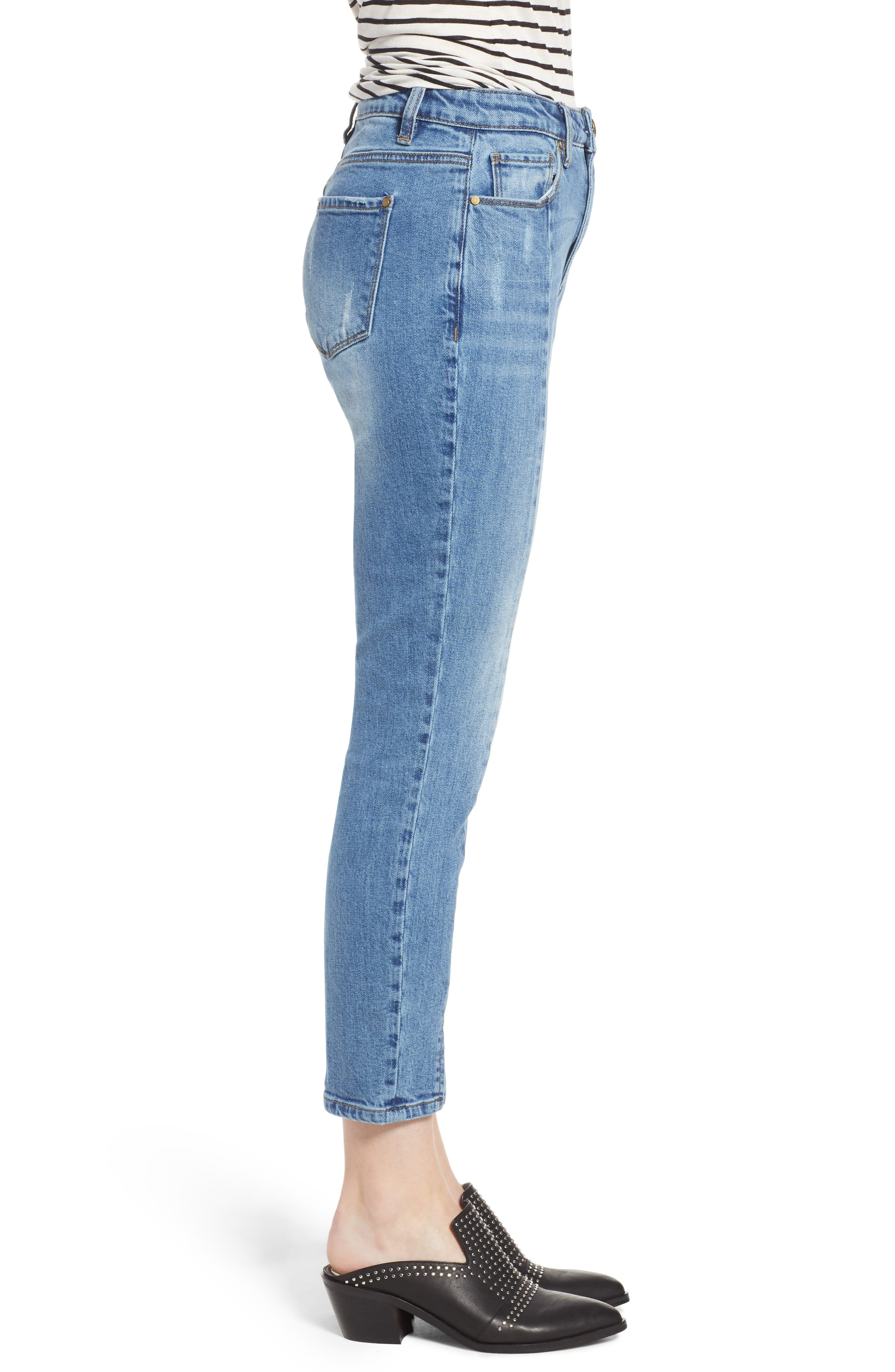 High Waist Ankle Slit Skinny Jeans,                             Alternate thumbnail 3, color,                             429