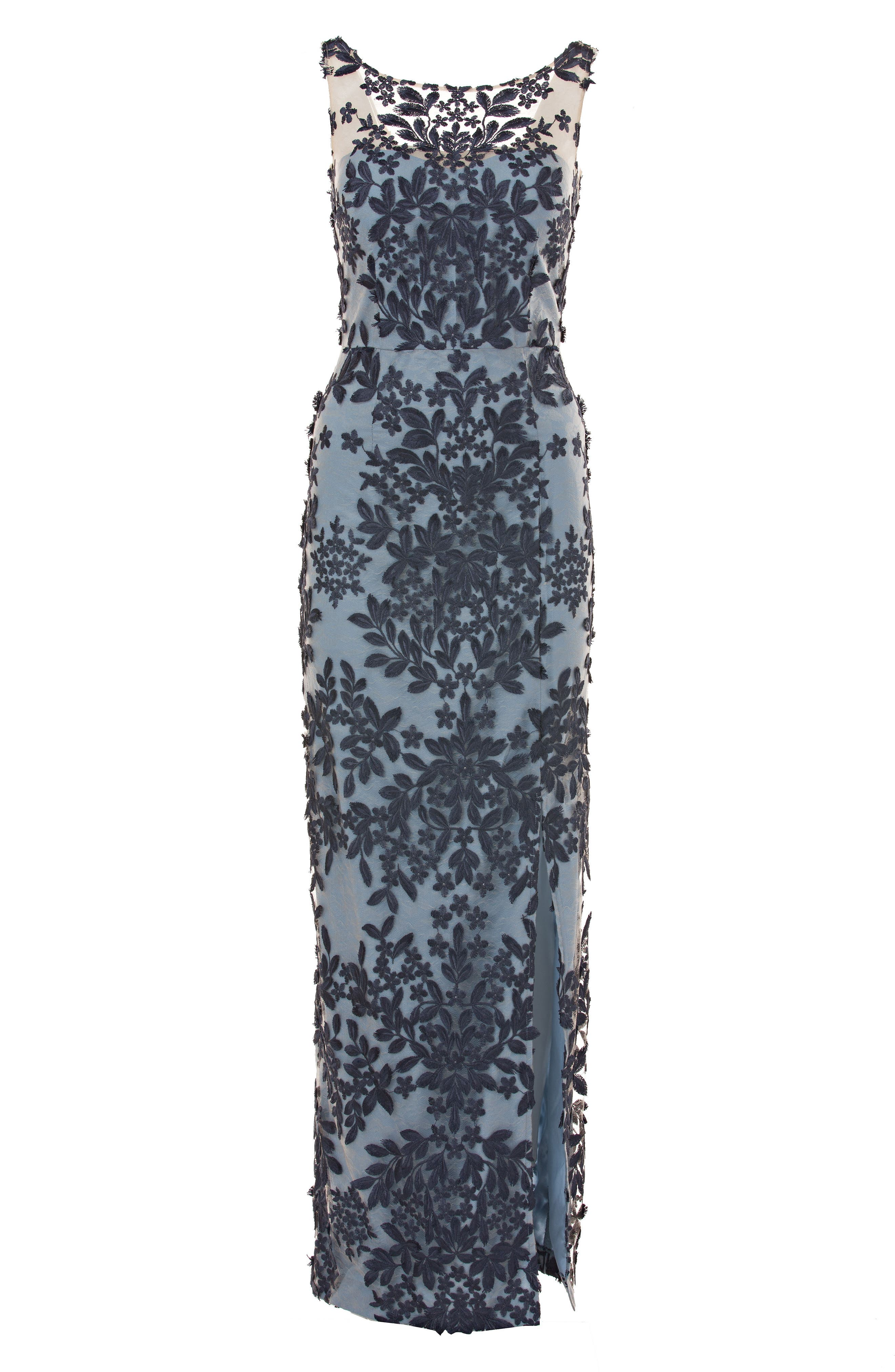 Leaf Embroidered Gown,                             Alternate thumbnail 3, color,                             NAVY