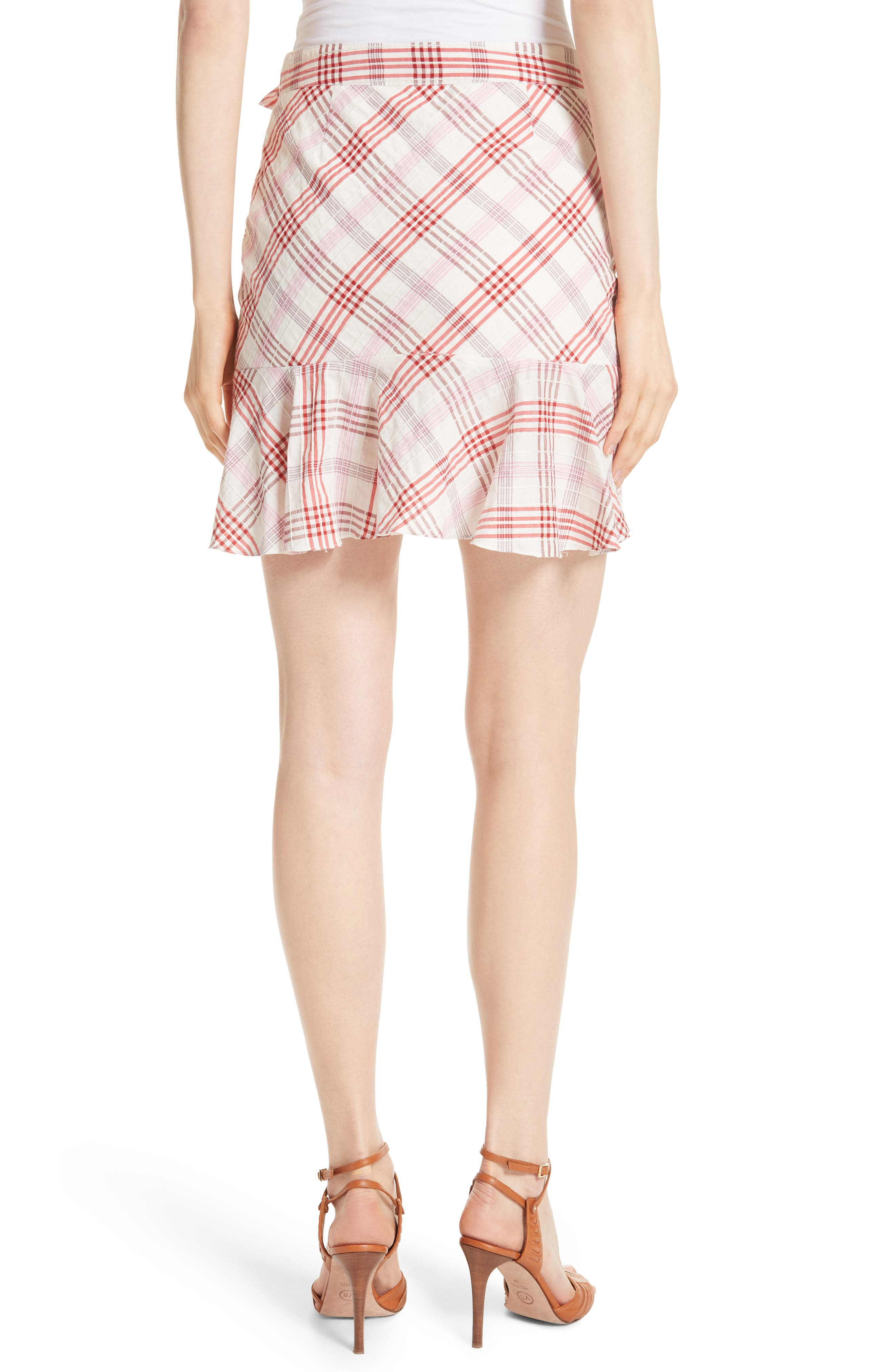 Kaia Check Ruffle Skirt,                             Alternate thumbnail 4, color,