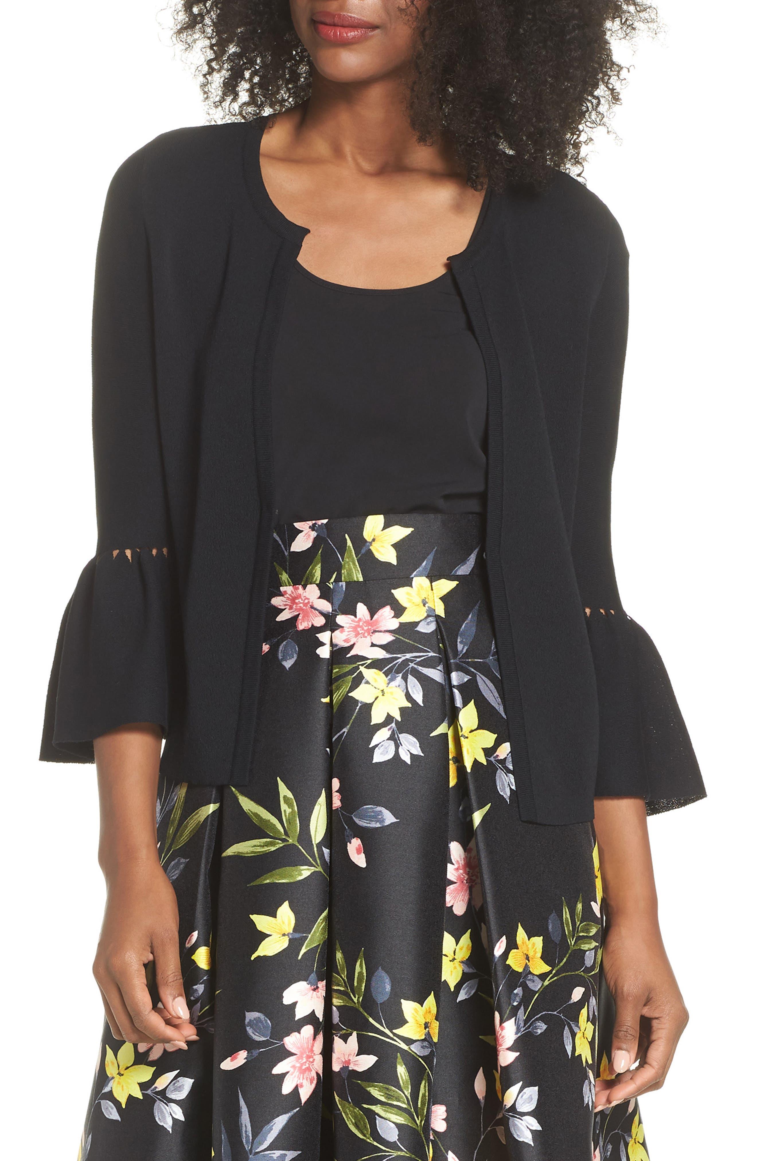 Bell Sleeve Cardigan,                         Main,                         color, BLACK