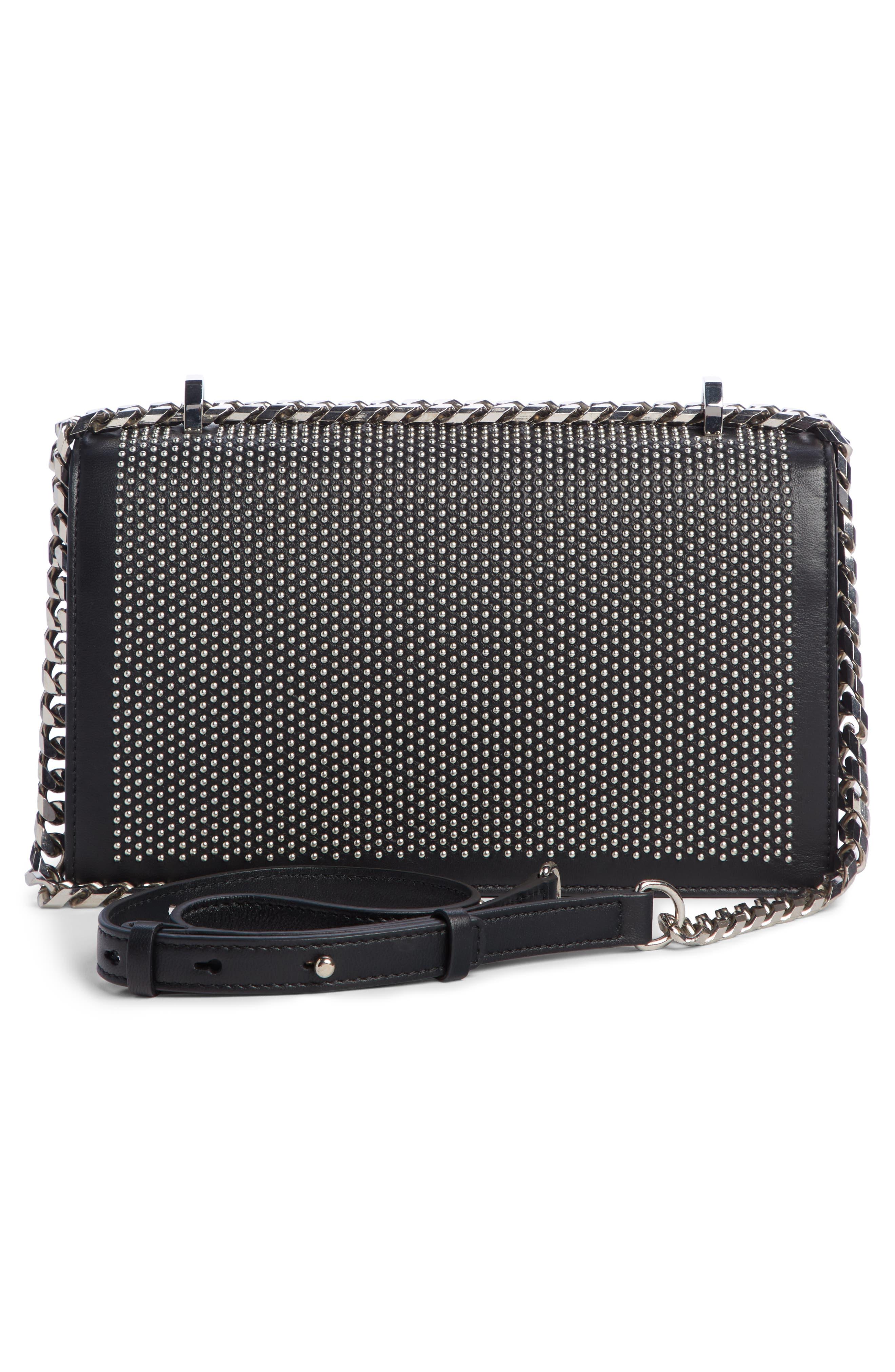 ALEXANDER MCQUEEN,                             Studded Leather Crossbody Knuckle Bag,                             Alternate thumbnail 3, color,                             BLACK