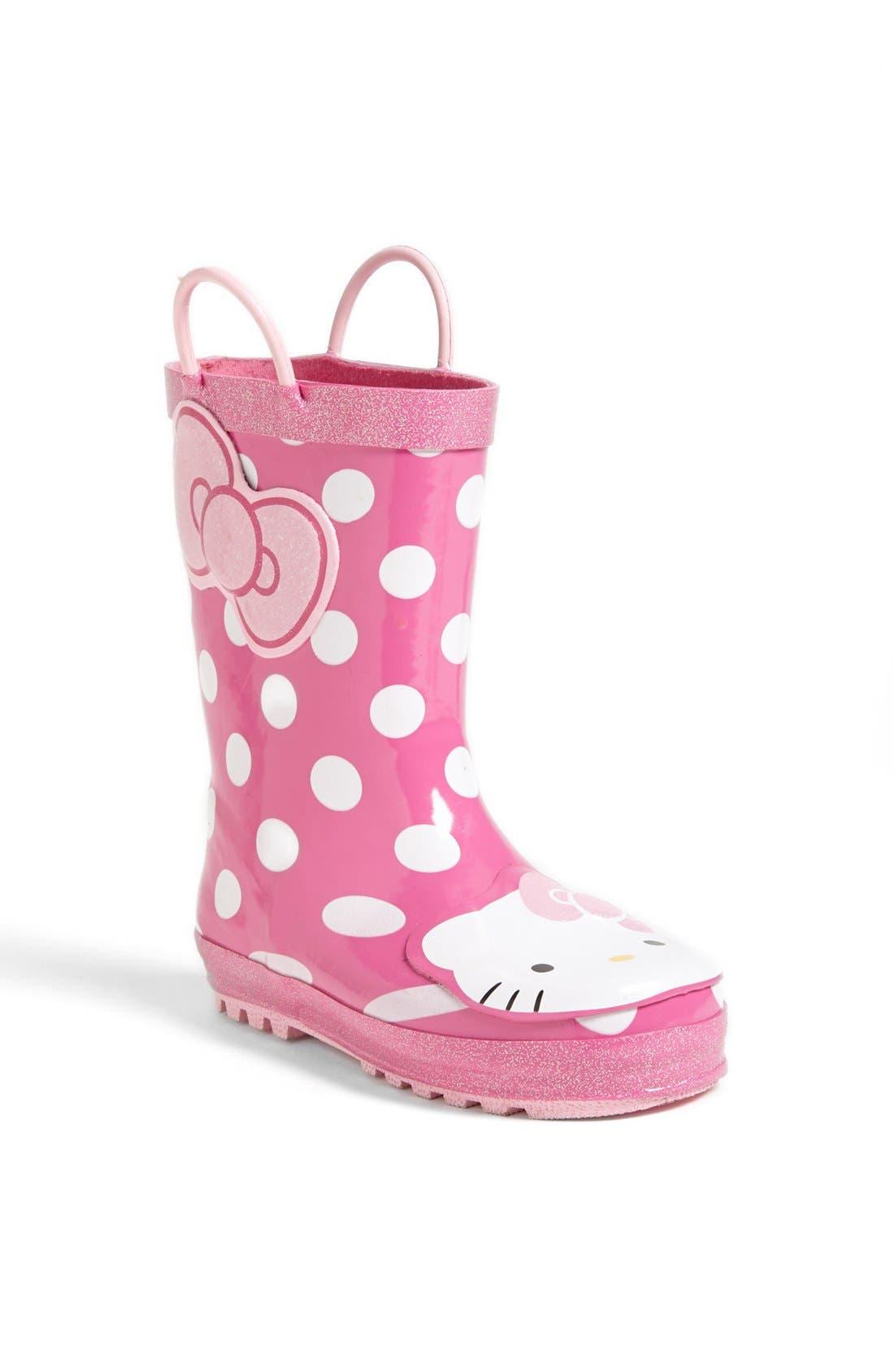Hello Kitty<sup>®</sup> - Cutie Dot Waterproof Rain Boot,                             Main thumbnail 1, color,                             650