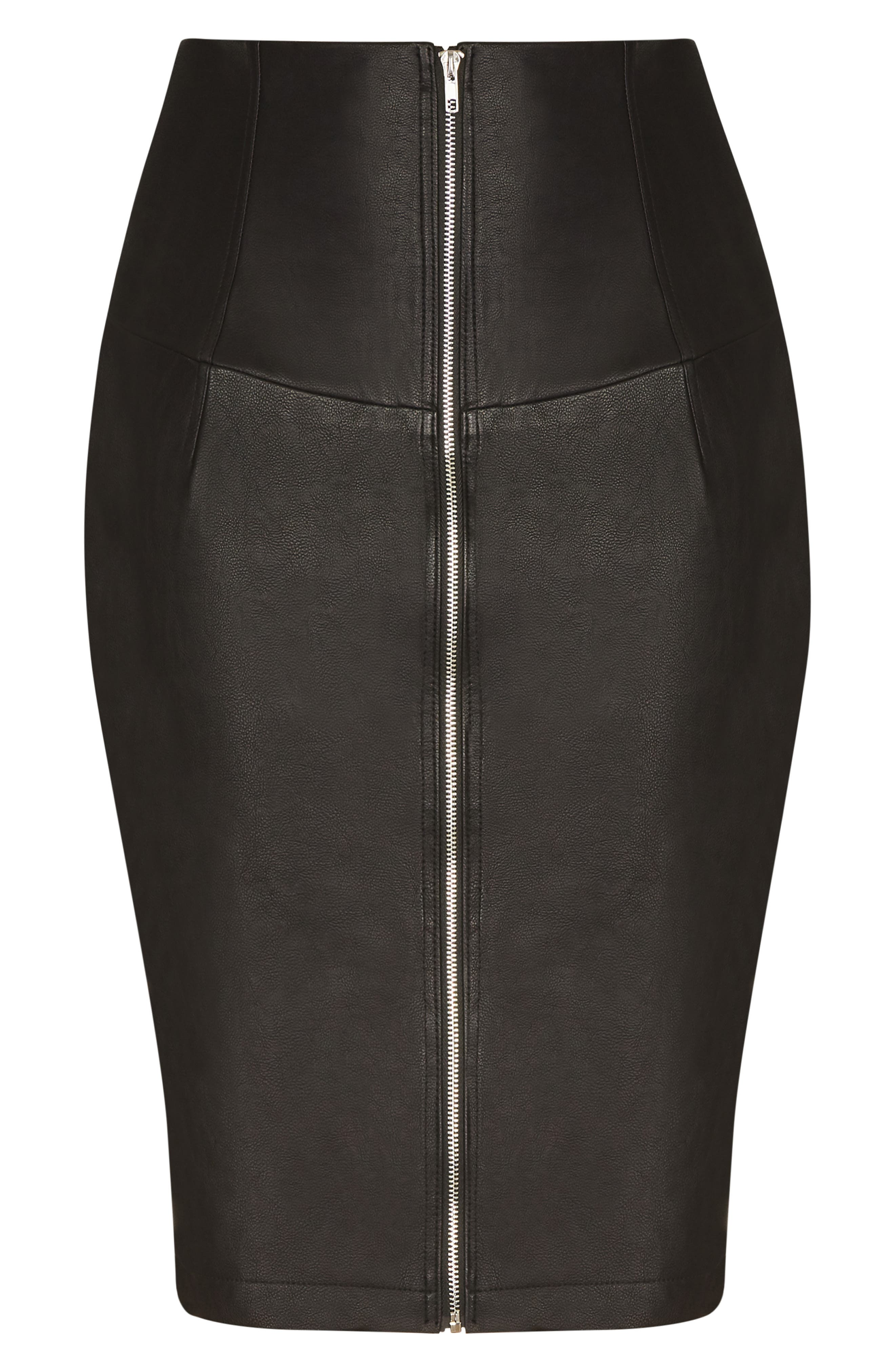Faux Leather Corset Skirt,                             Alternate thumbnail 3, color,                             BLACK