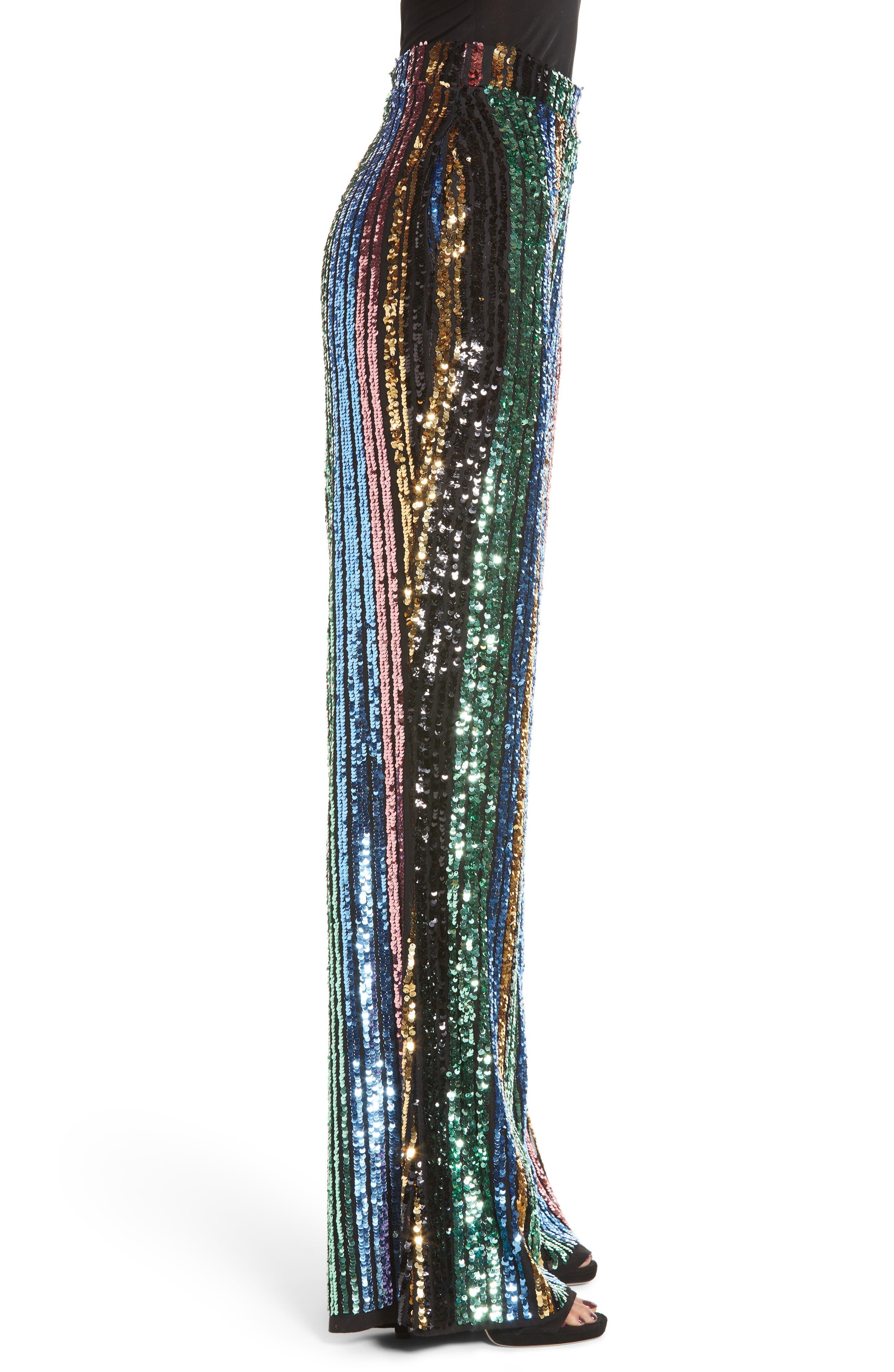 Leigh High Waist Sequin Stripe Pants,                             Alternate thumbnail 3, color,                             COCKTAIL STRIPE SEQUINS