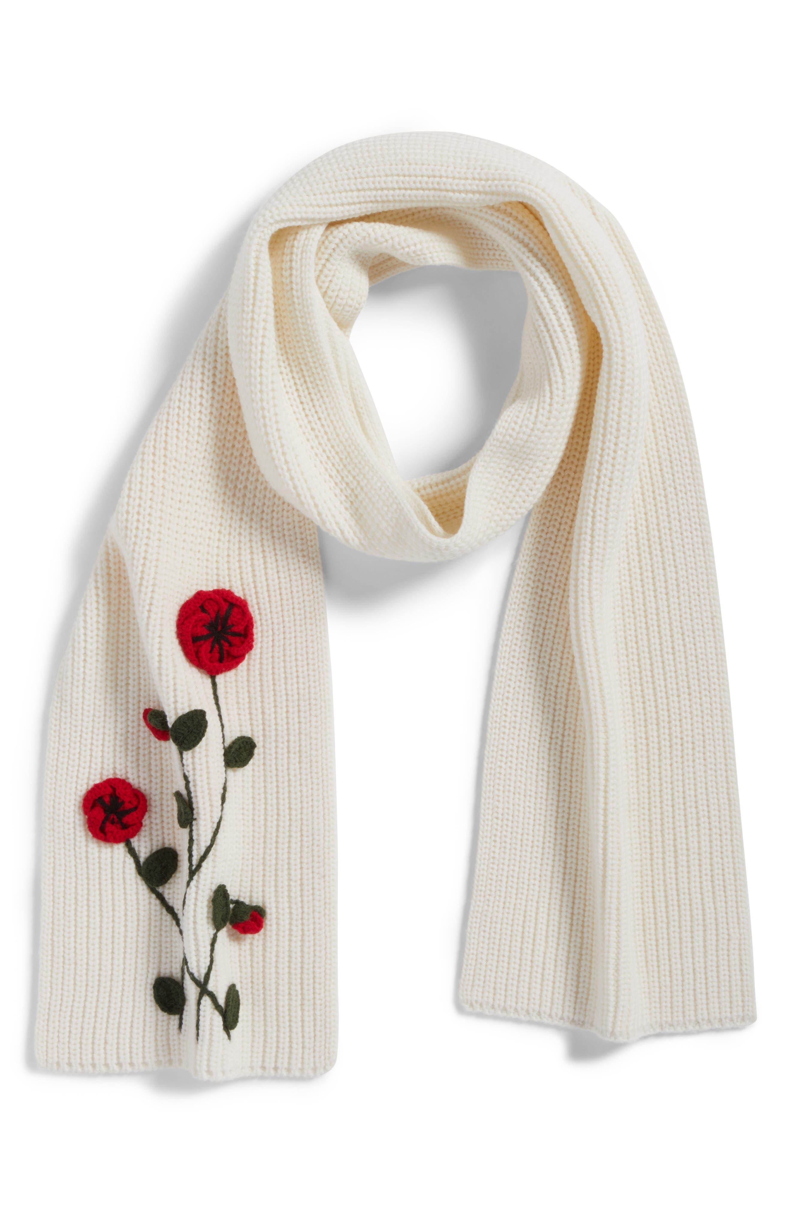 crochet poppy scarf,                             Alternate thumbnail 4, color,