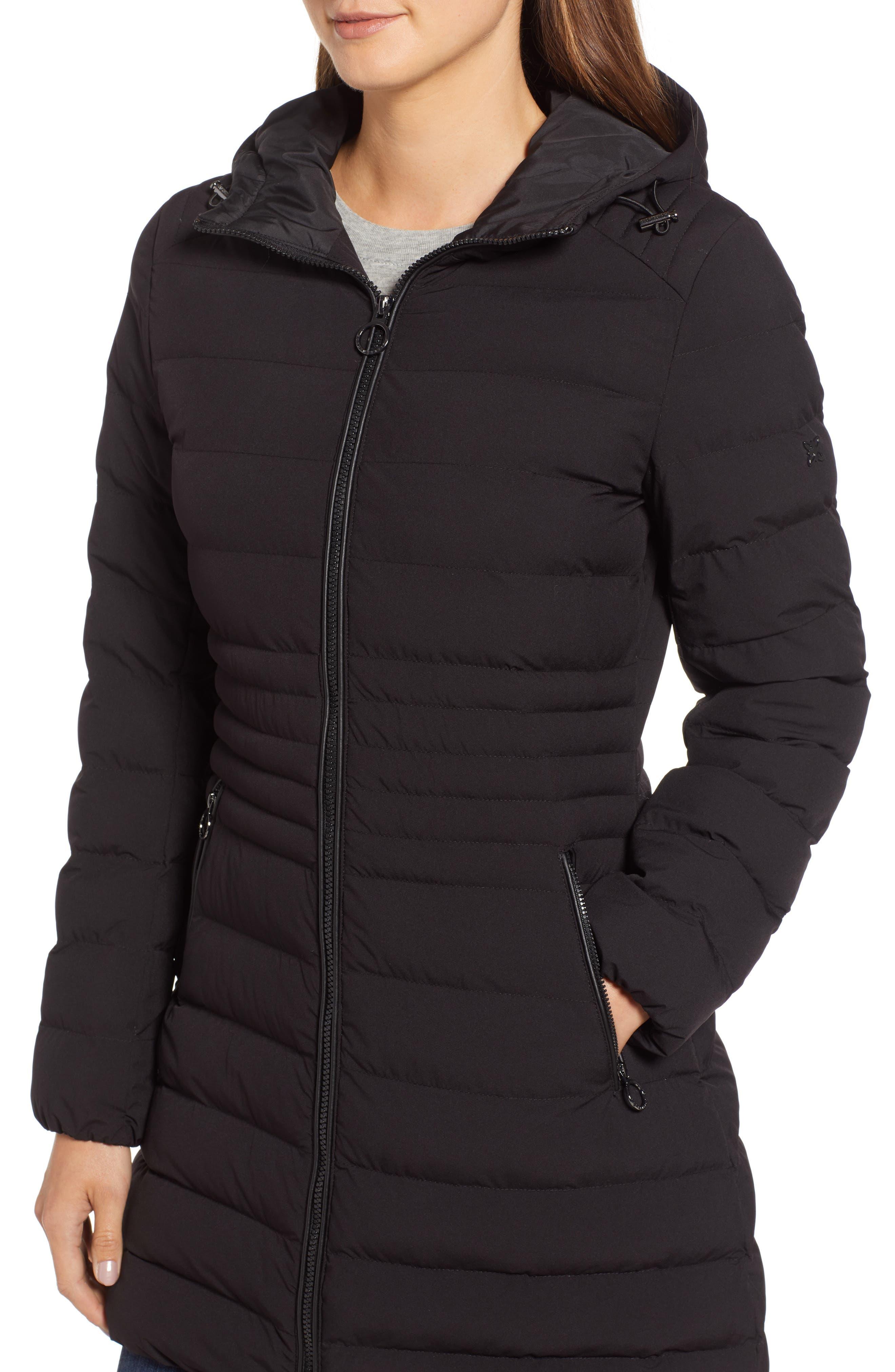 Hooded Down Puffer Coat,                             Alternate thumbnail 4, color,                             BLACK