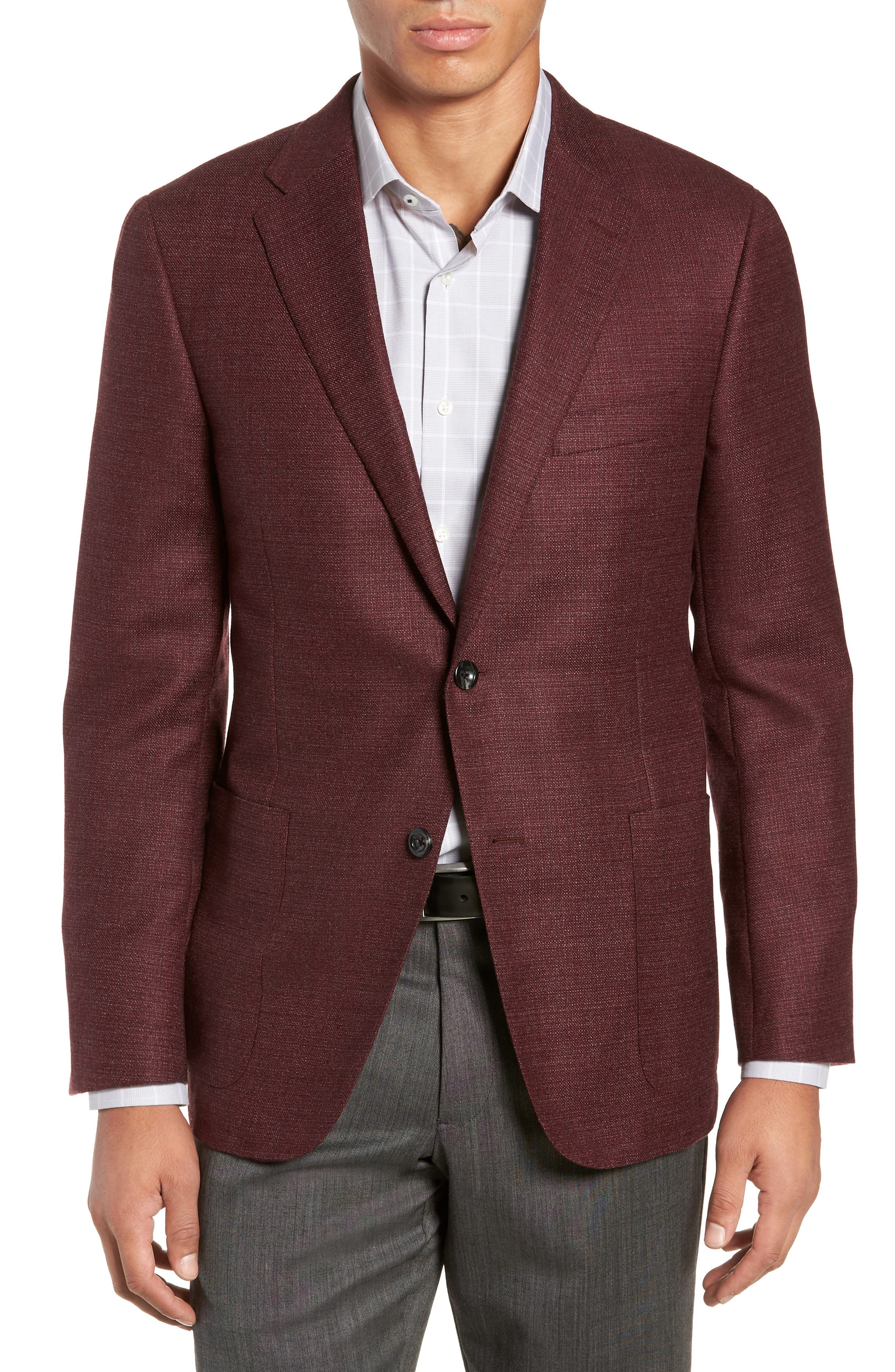 HICKEY FREEMAN Weightless Classic Fit Wool & Silk Sport Coat in Burgundy