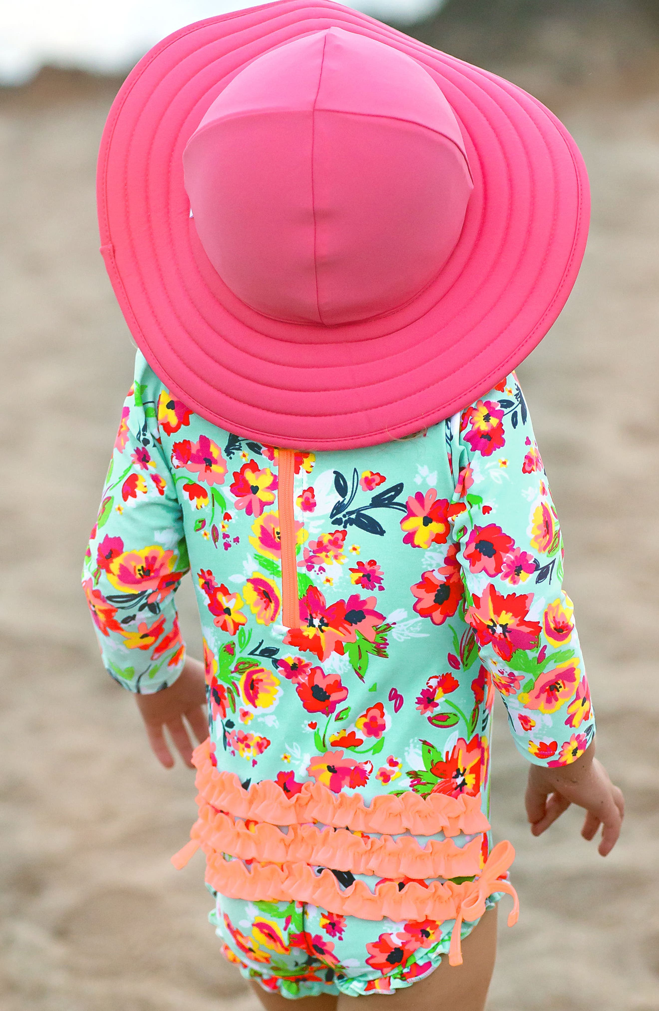 Painted Flowers One-Piece Rashguard Swimsuit & Reversible Sun Hat Set,                             Alternate thumbnail 3, color,                             460