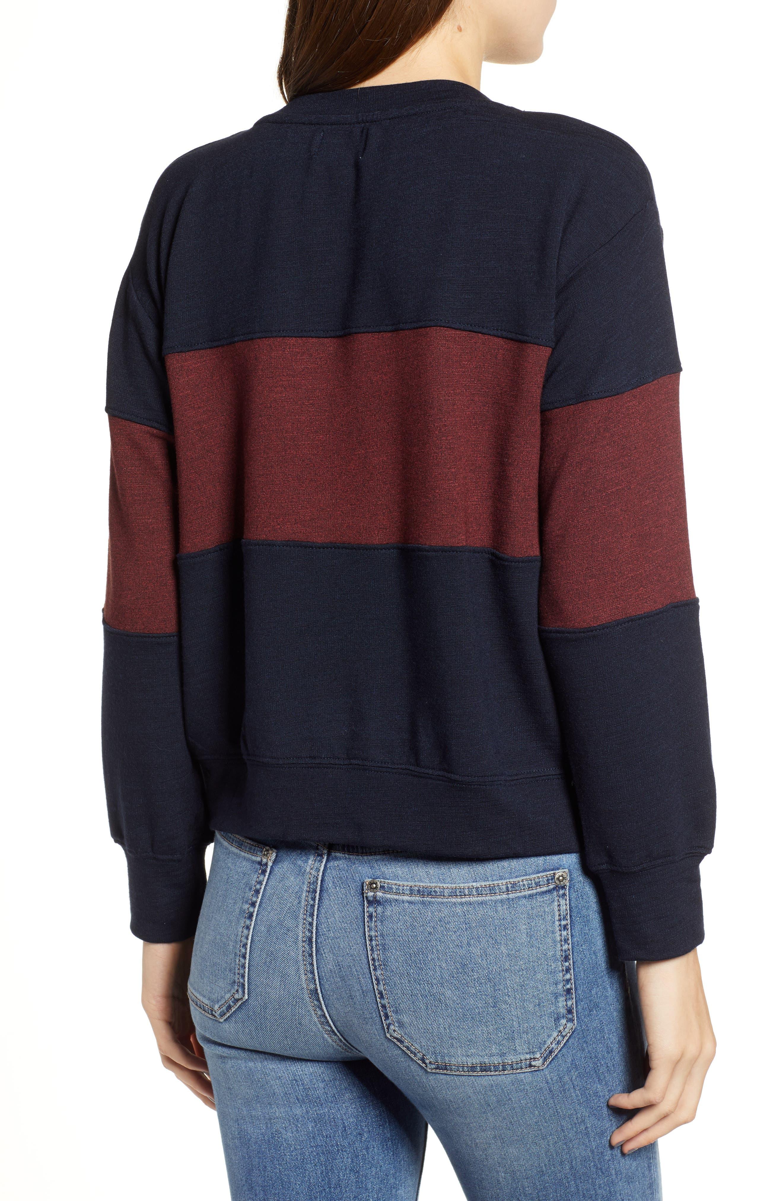 Colorblock Crop Sweatshirt,                             Alternate thumbnail 2, color,                             MIDNIGHT/ MARSALA