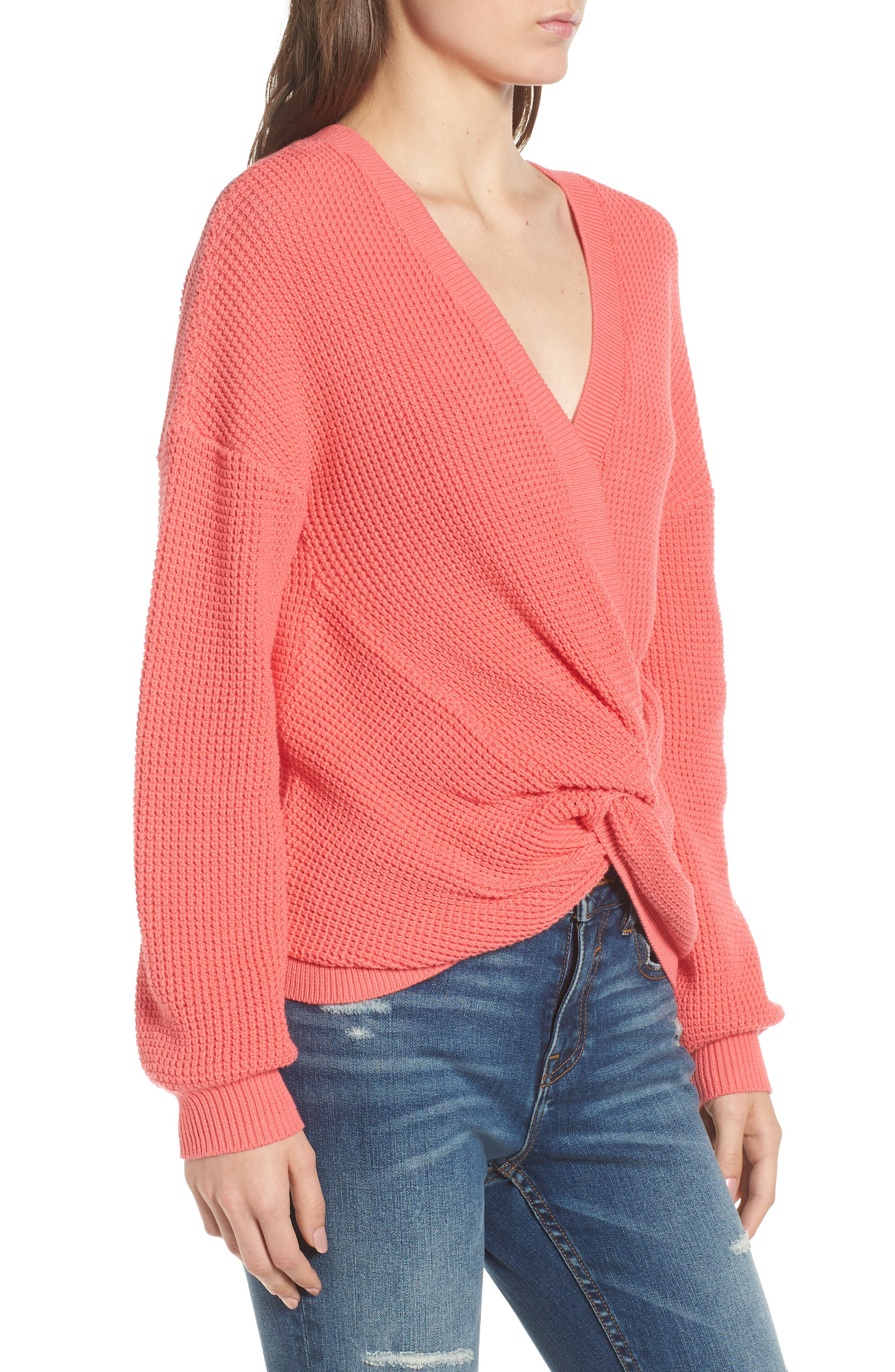 Twist Front Sweater,                             Alternate thumbnail 4, color,                             CORAL SUNKIST