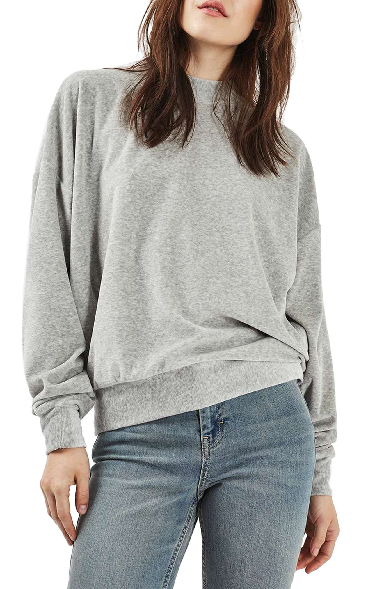 TOPSHOP Batwing Velvet Sweater, Main, color, 020