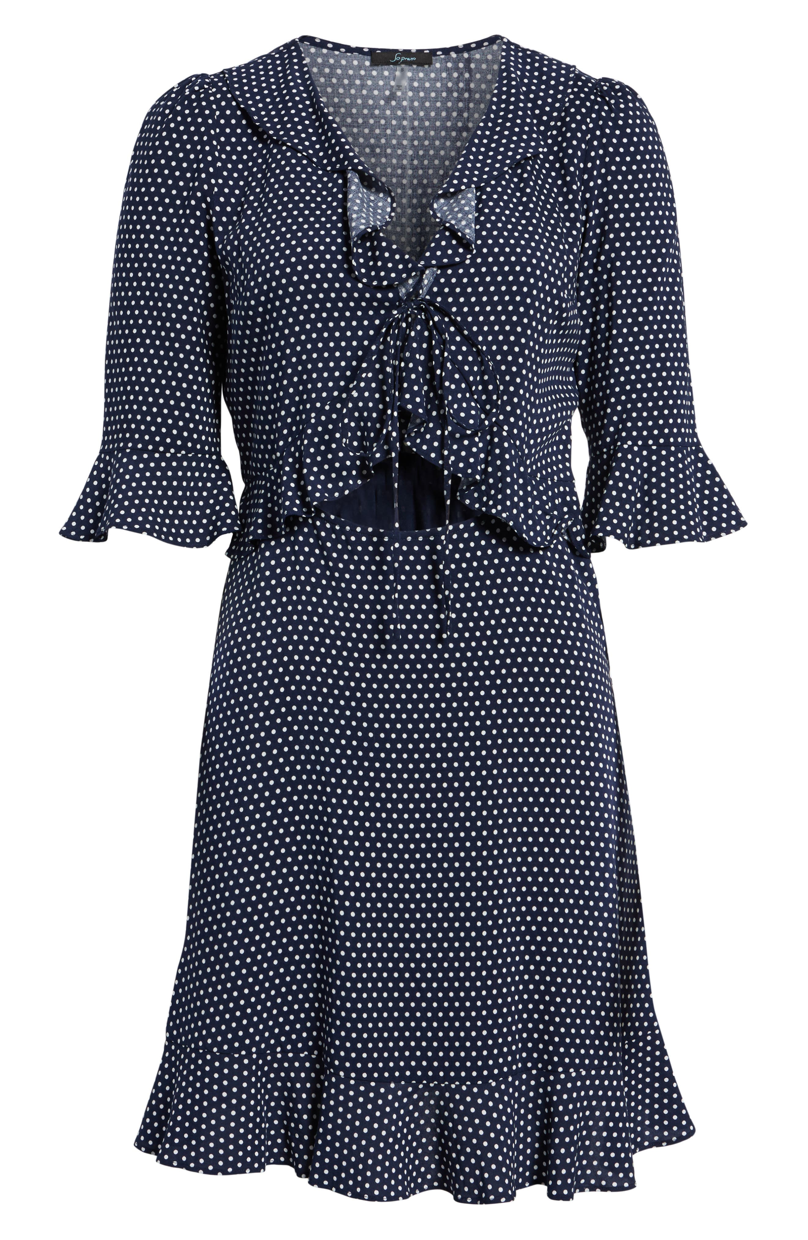 Ruffle Polka Dot Dress,                             Alternate thumbnail 6, color,