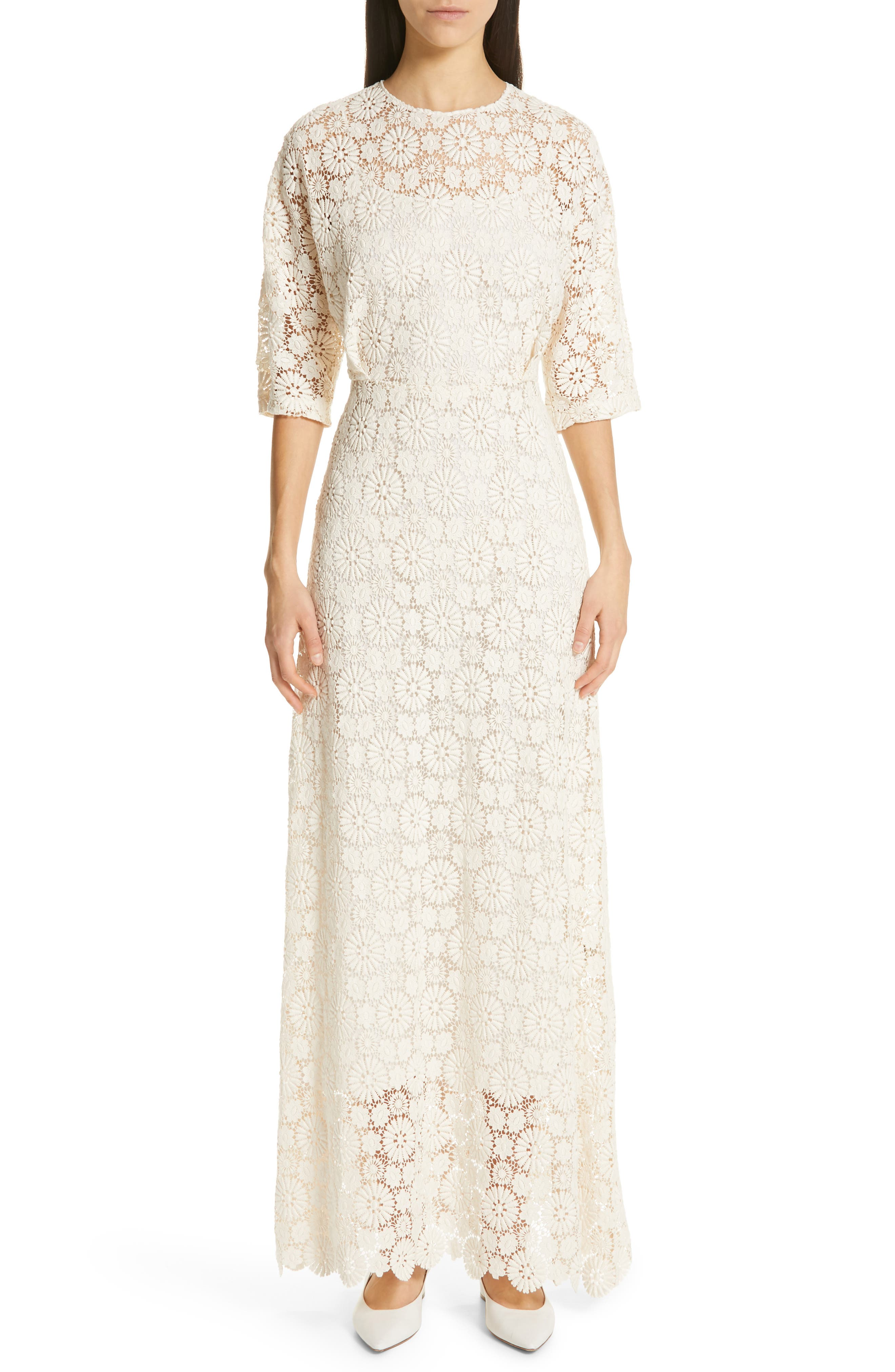 Vintage Inspired Wedding Dress | Vintage Style Wedding Dresses Womens Mansur Gavriel Guipure Lace Long Sheath Dress $1,250.00 AT vintagedancer.com