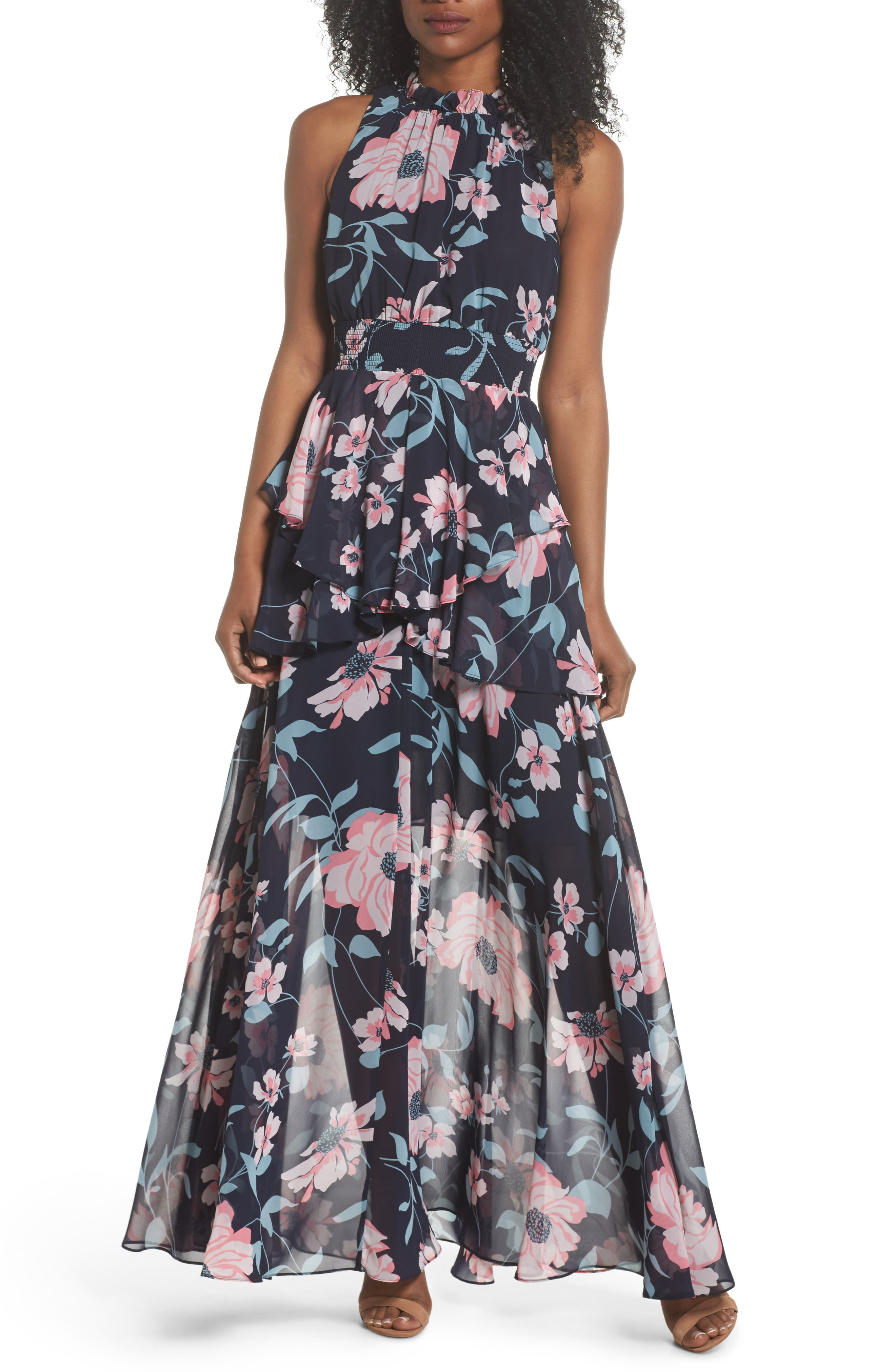 Floral Maxi Dress,                             Main thumbnail 1, color,