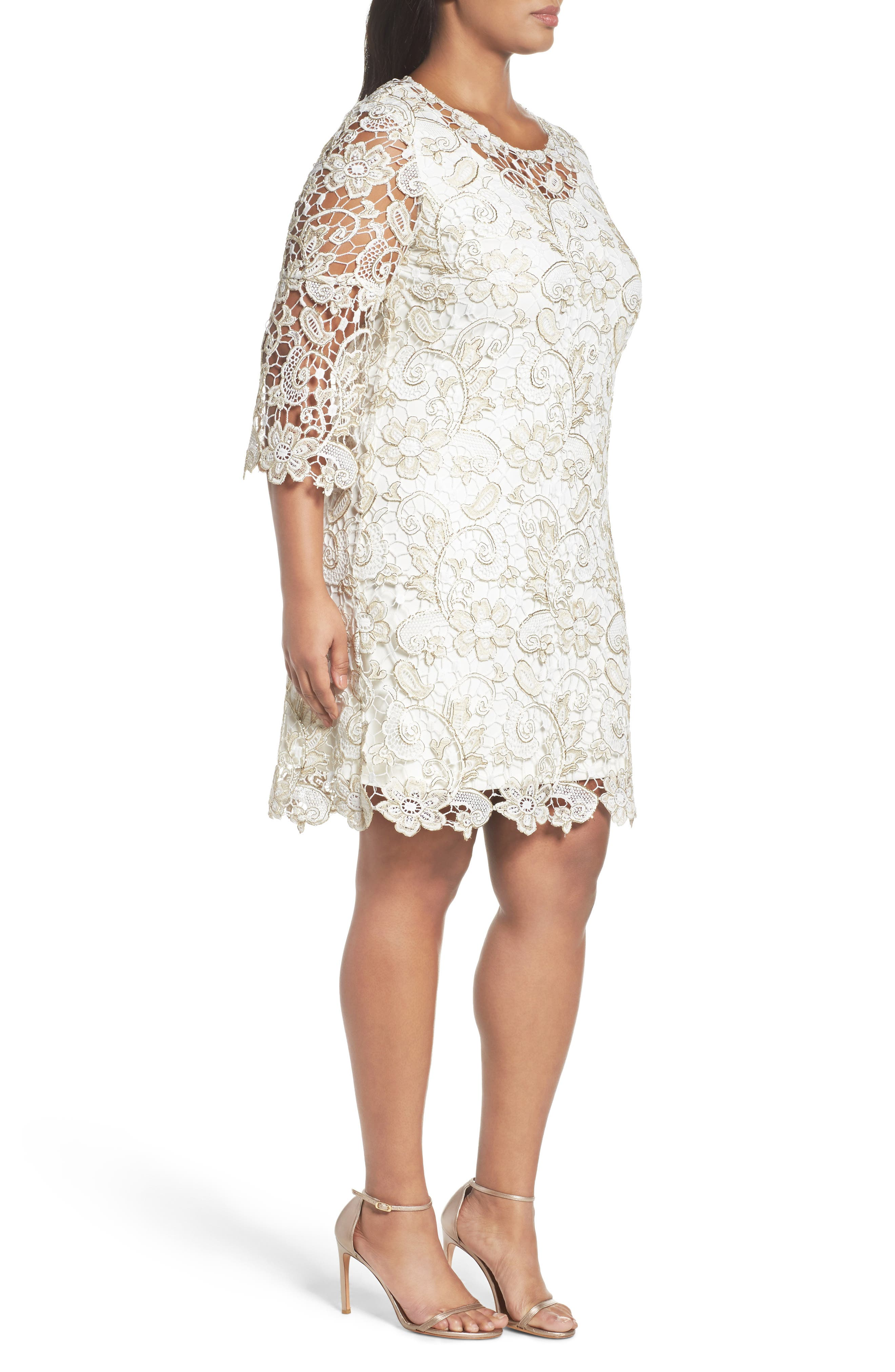 Bell Sleeve Lace Shift Dress,                             Alternate thumbnail 6, color,