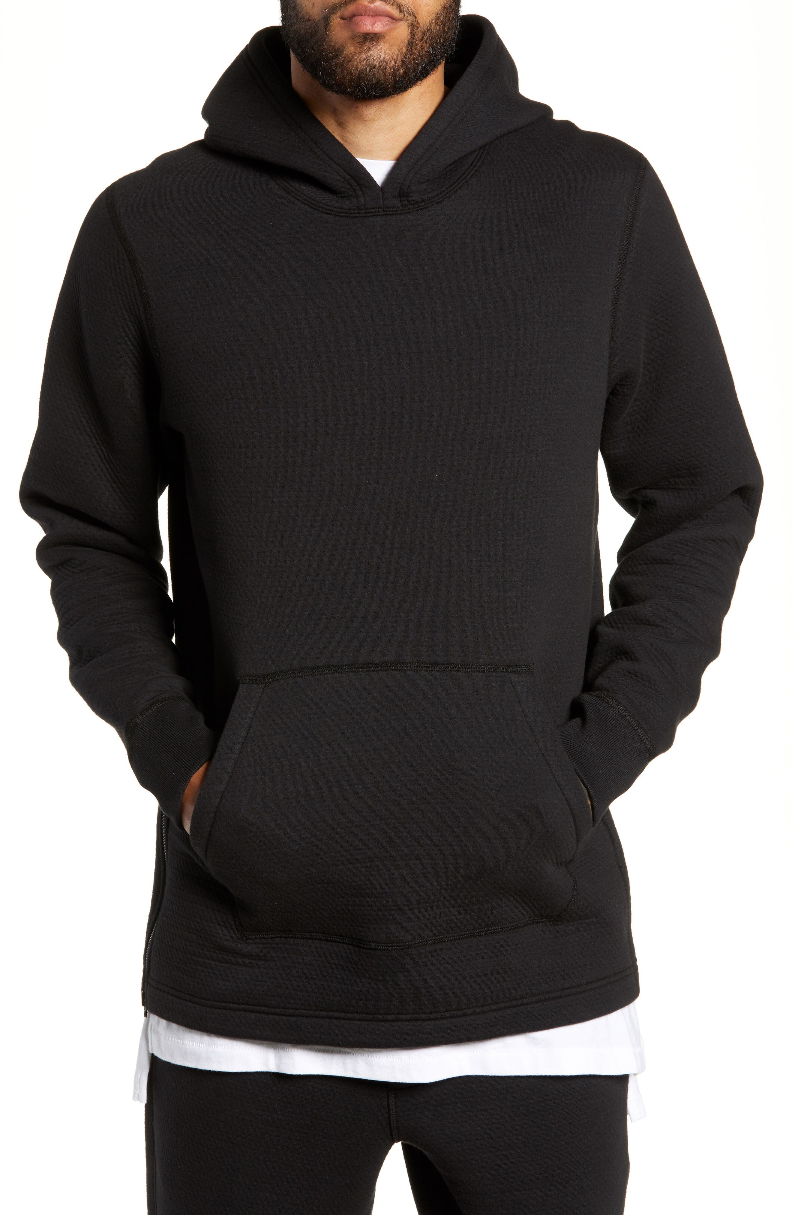 WINGS + HORNS Side Zip Hoodie in Black