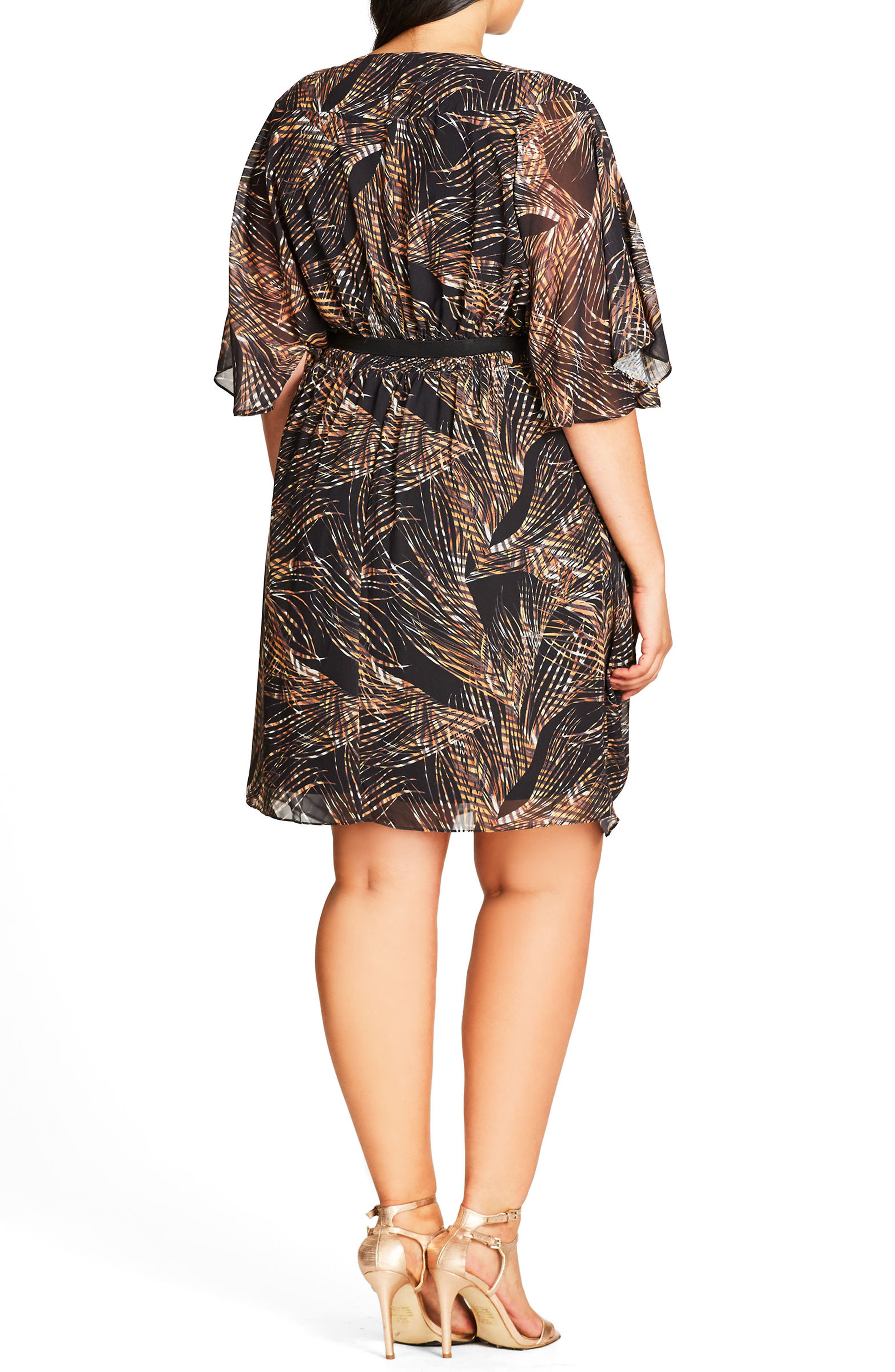 Midnight Palm Belted Dress,                             Alternate thumbnail 2, color,                             001