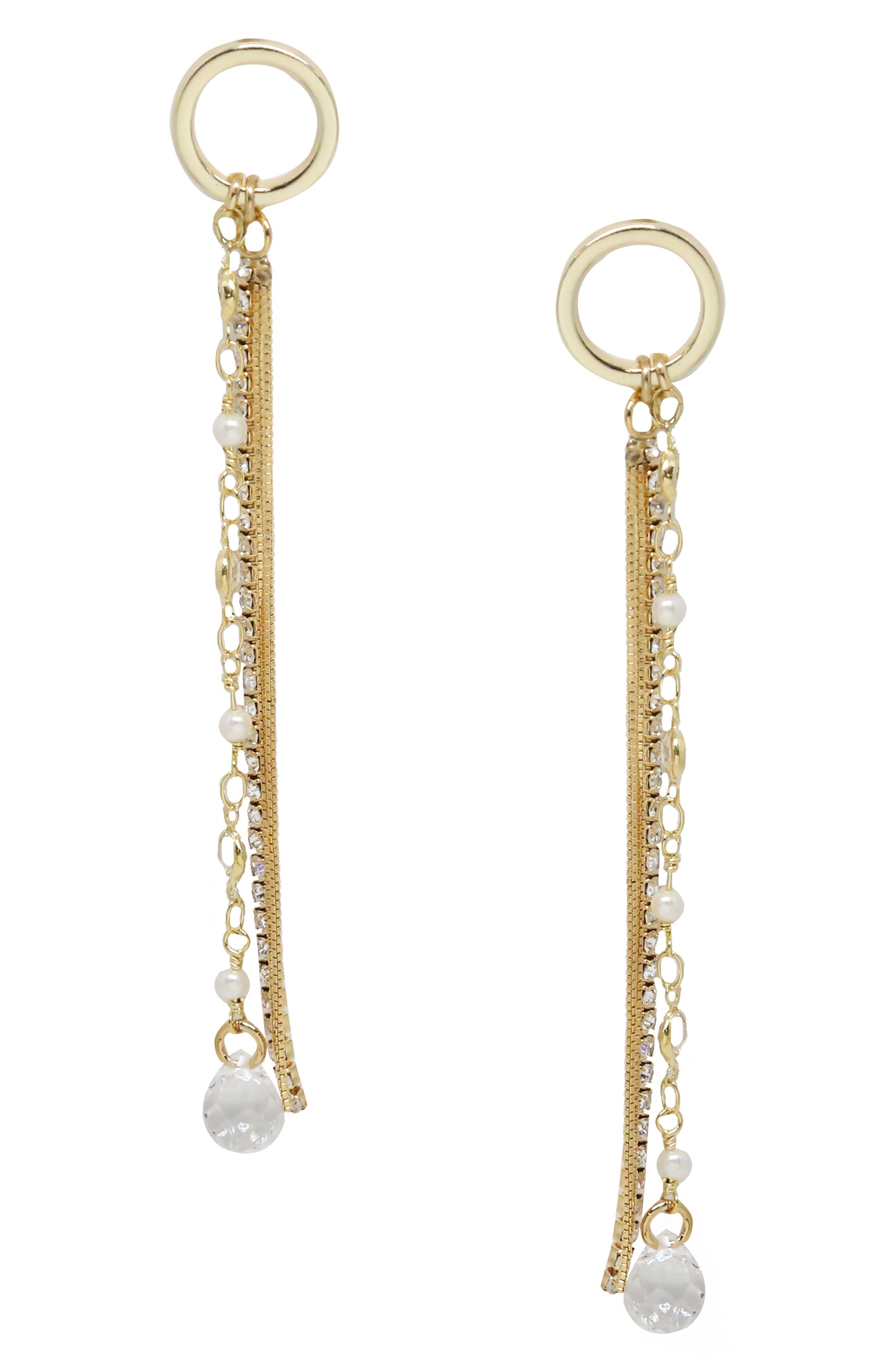 ETTIKA Imitation Pearl Drop Earrings in Gold