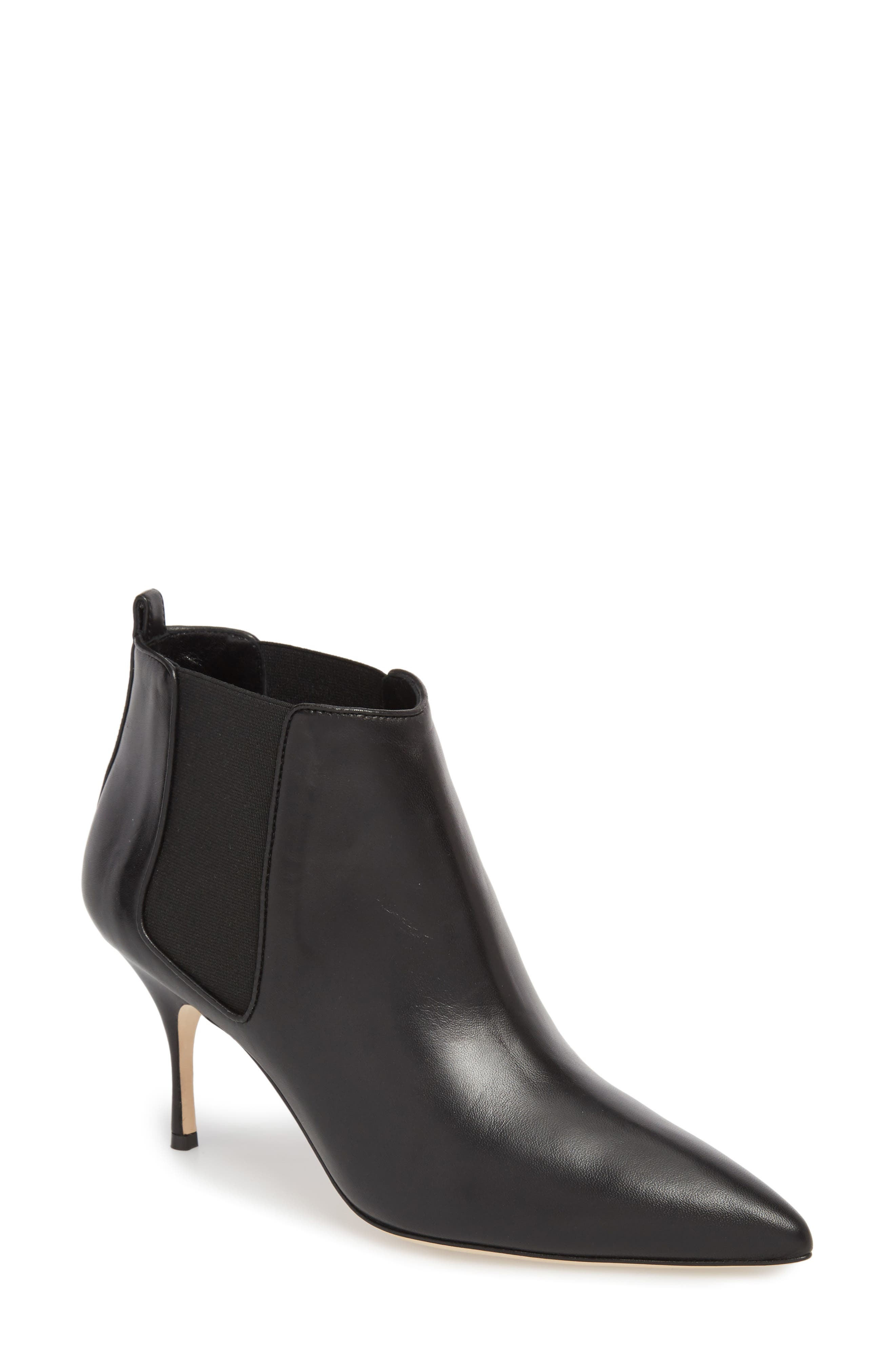 Dildi Pointy Toe Bootie,                             Main thumbnail 1, color,                             BLACK LEATHER