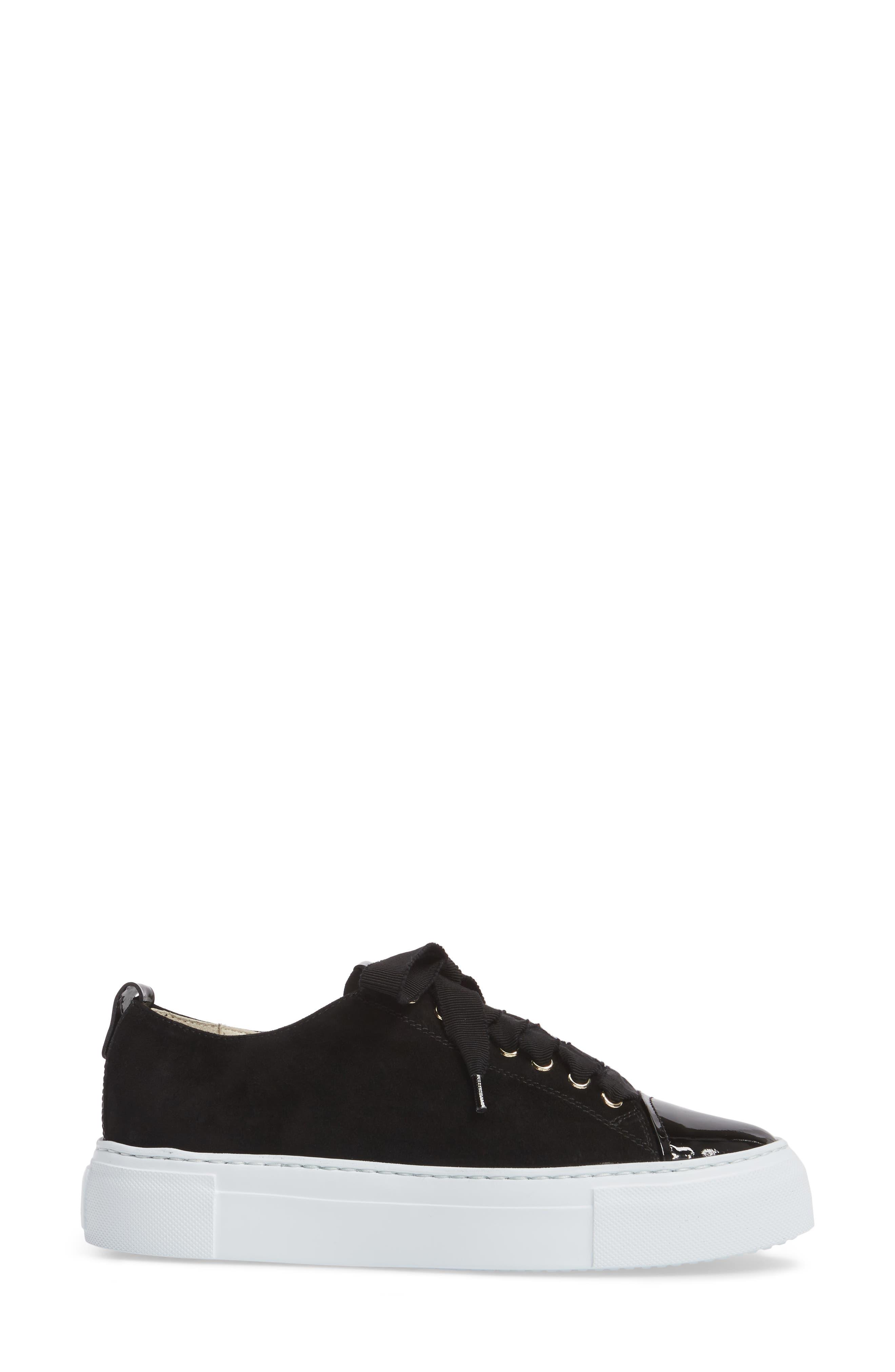 Cap Toe Platform Sneaker,                             Alternate thumbnail 3, color,                             001