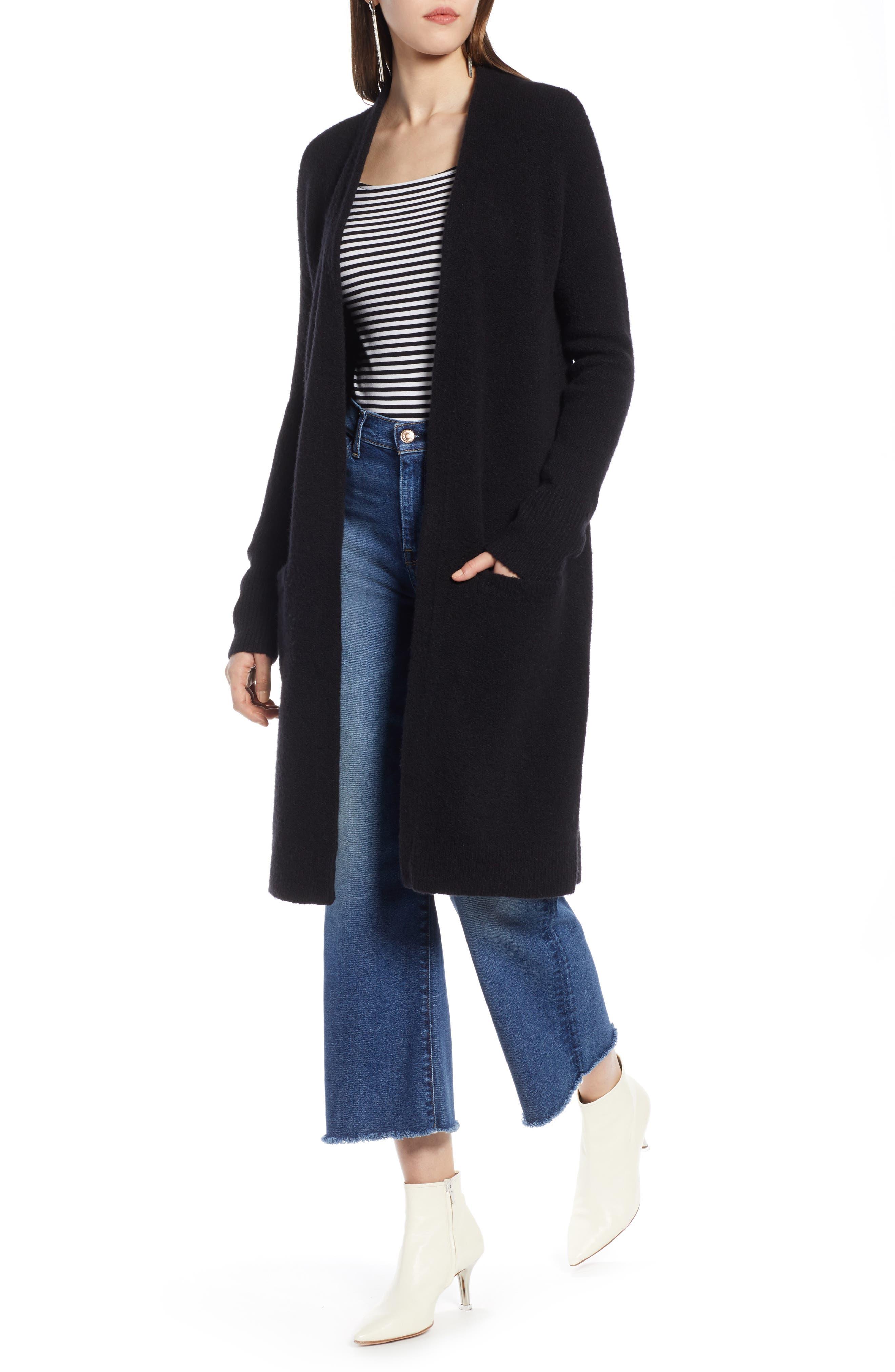 HALOGEN<SUP>®</SUP> Long Open Front Cardigan, Main, color, BLACK
