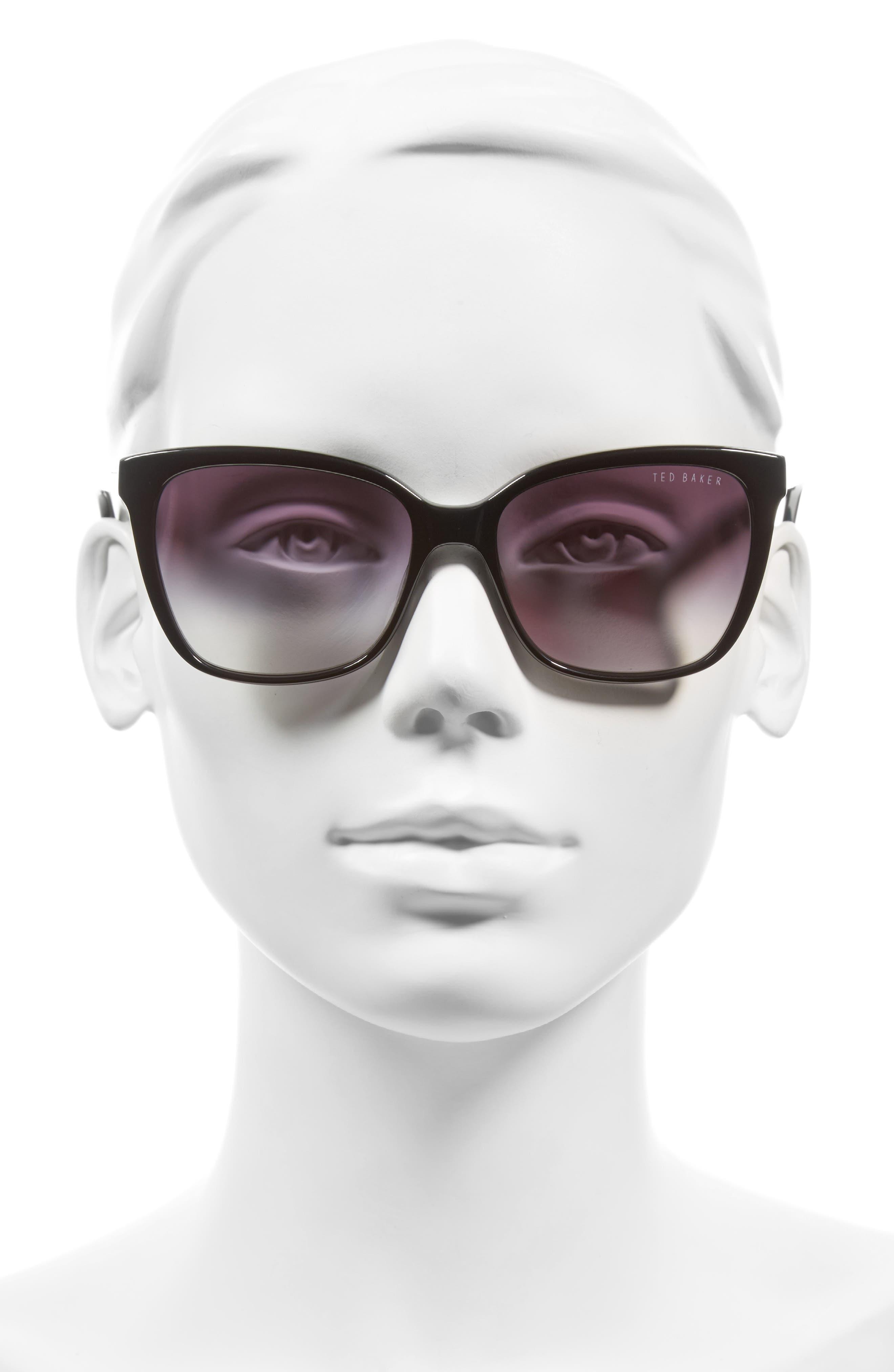 54mm Gradient Lens Square Sunglasses,                             Alternate thumbnail 2, color,                             001