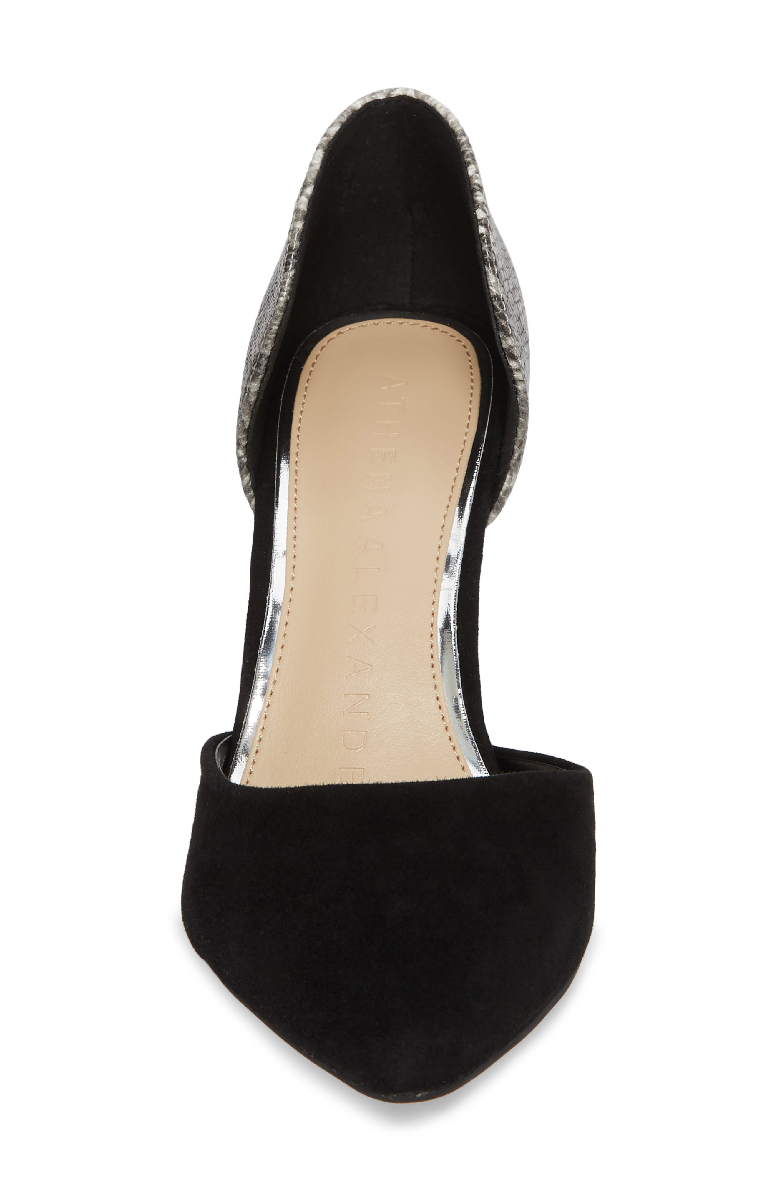 Groton d'Orsay Pump,                             Alternate thumbnail 4, color,                             BLACK SUEDE