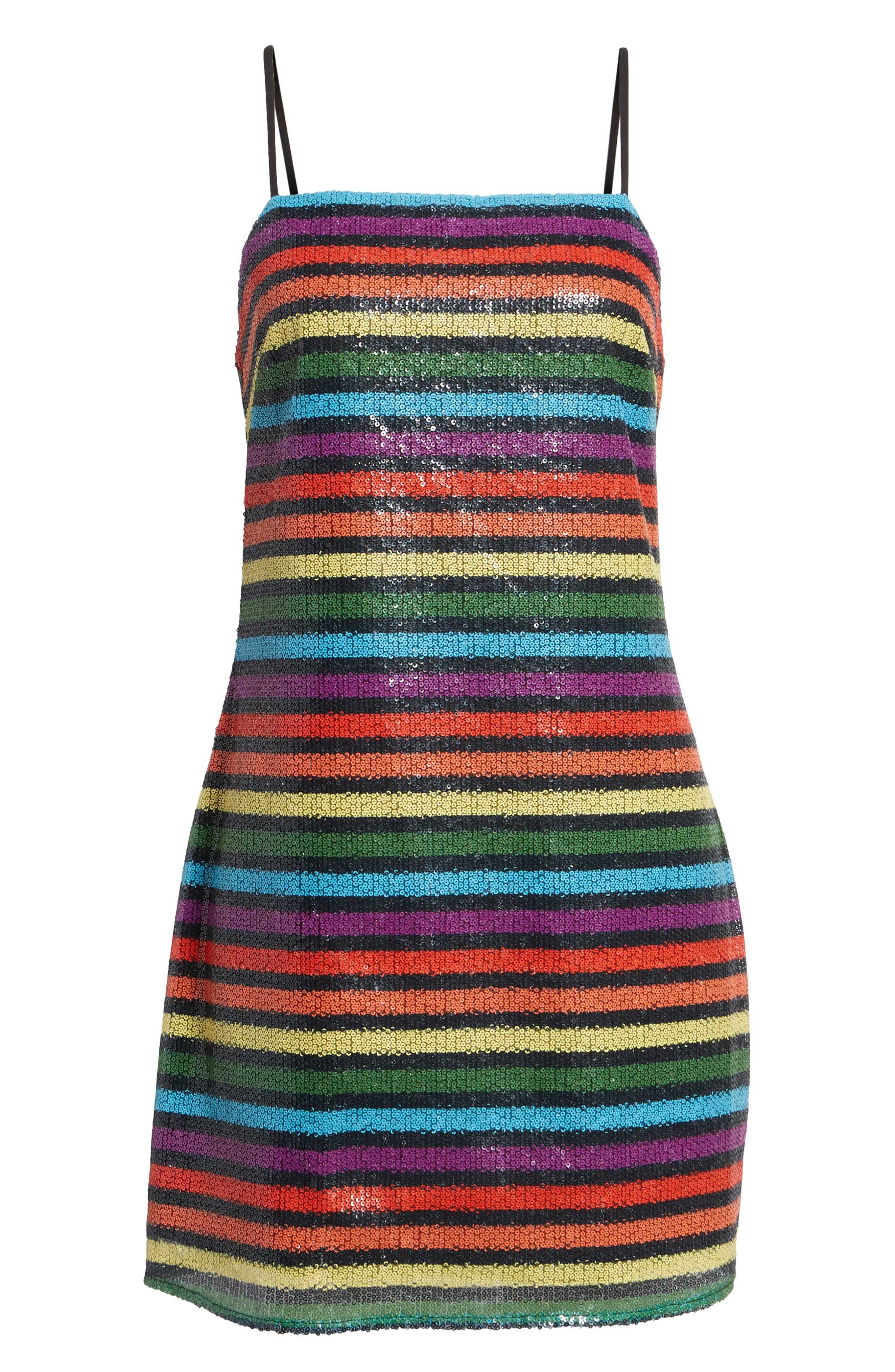 Lille Rainbow Stripe Sequin Minidress,                             Alternate thumbnail 6, color,                             600