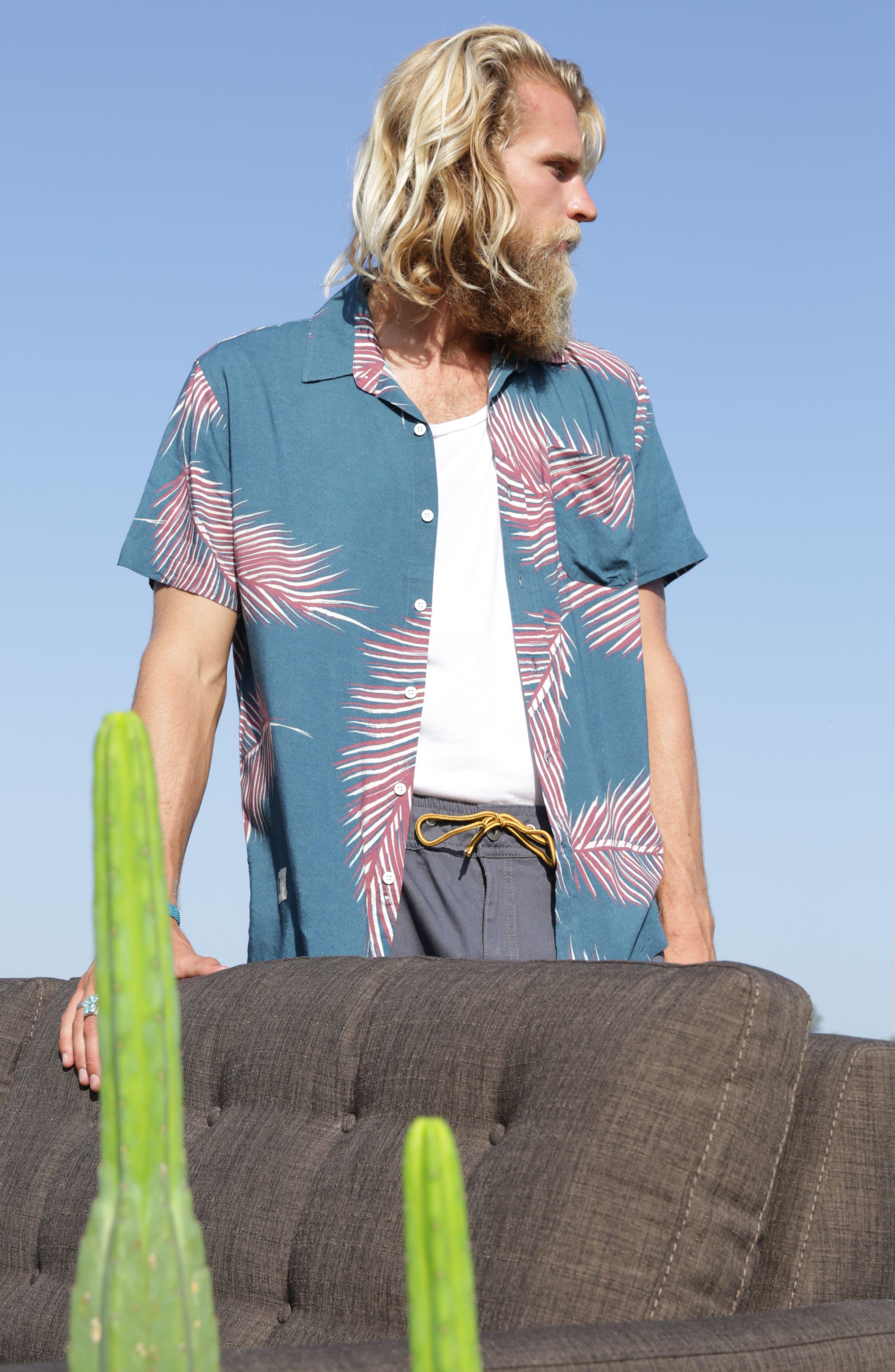 Giant Palms Woven Shirt,                             Alternate thumbnail 7, color,