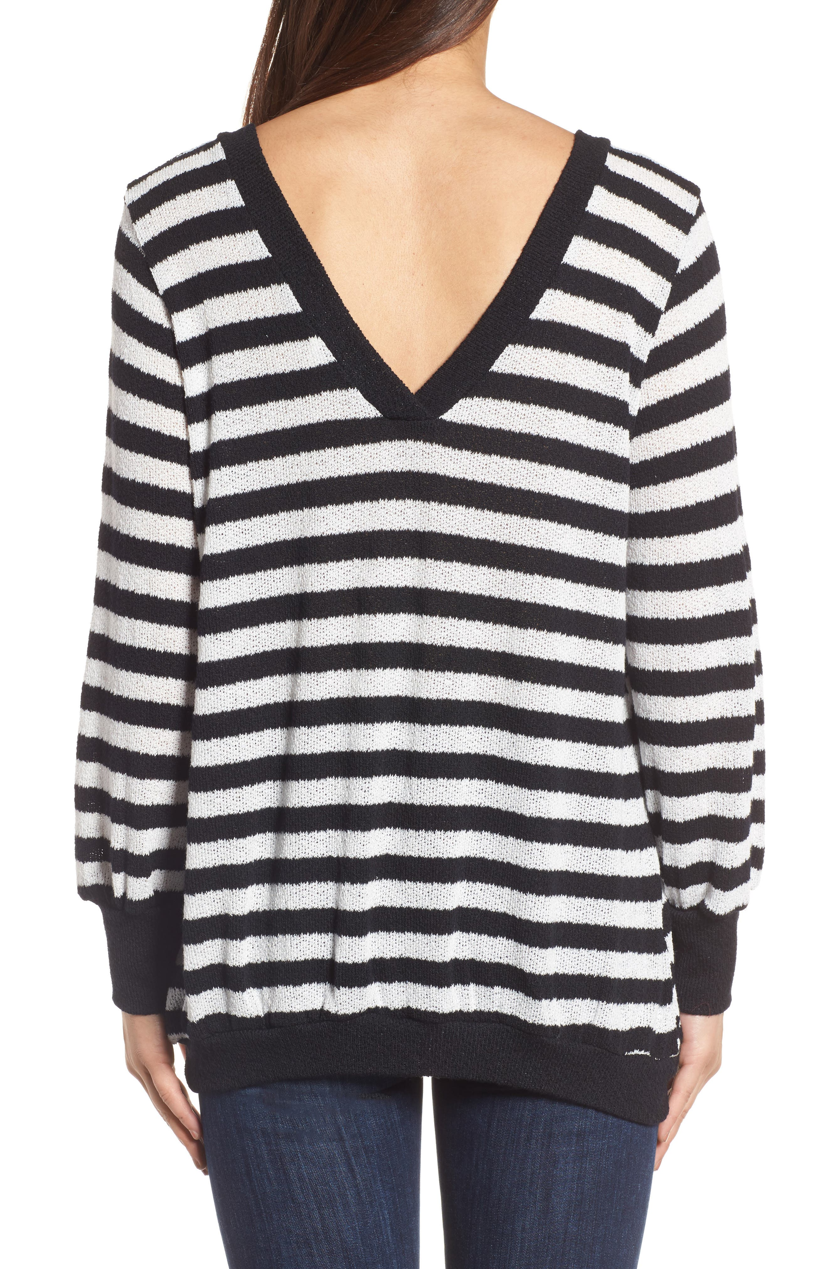 Double V-Neck Relaxed Pullover,                             Alternate thumbnail 2, color,                             001