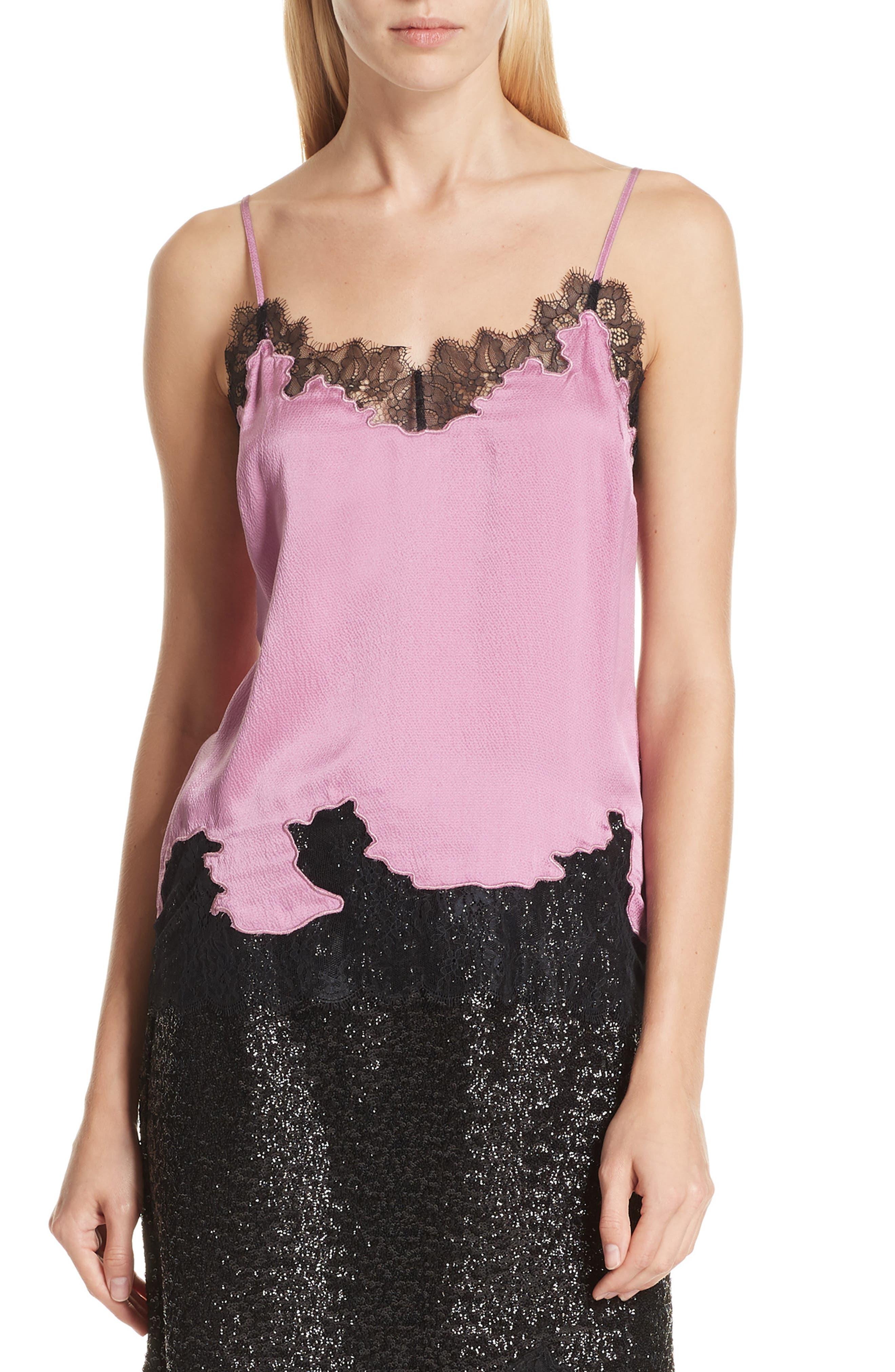 Lace Trim Silk Camisole,                             Alternate thumbnail 6, color,                             VINTAGE ROSE