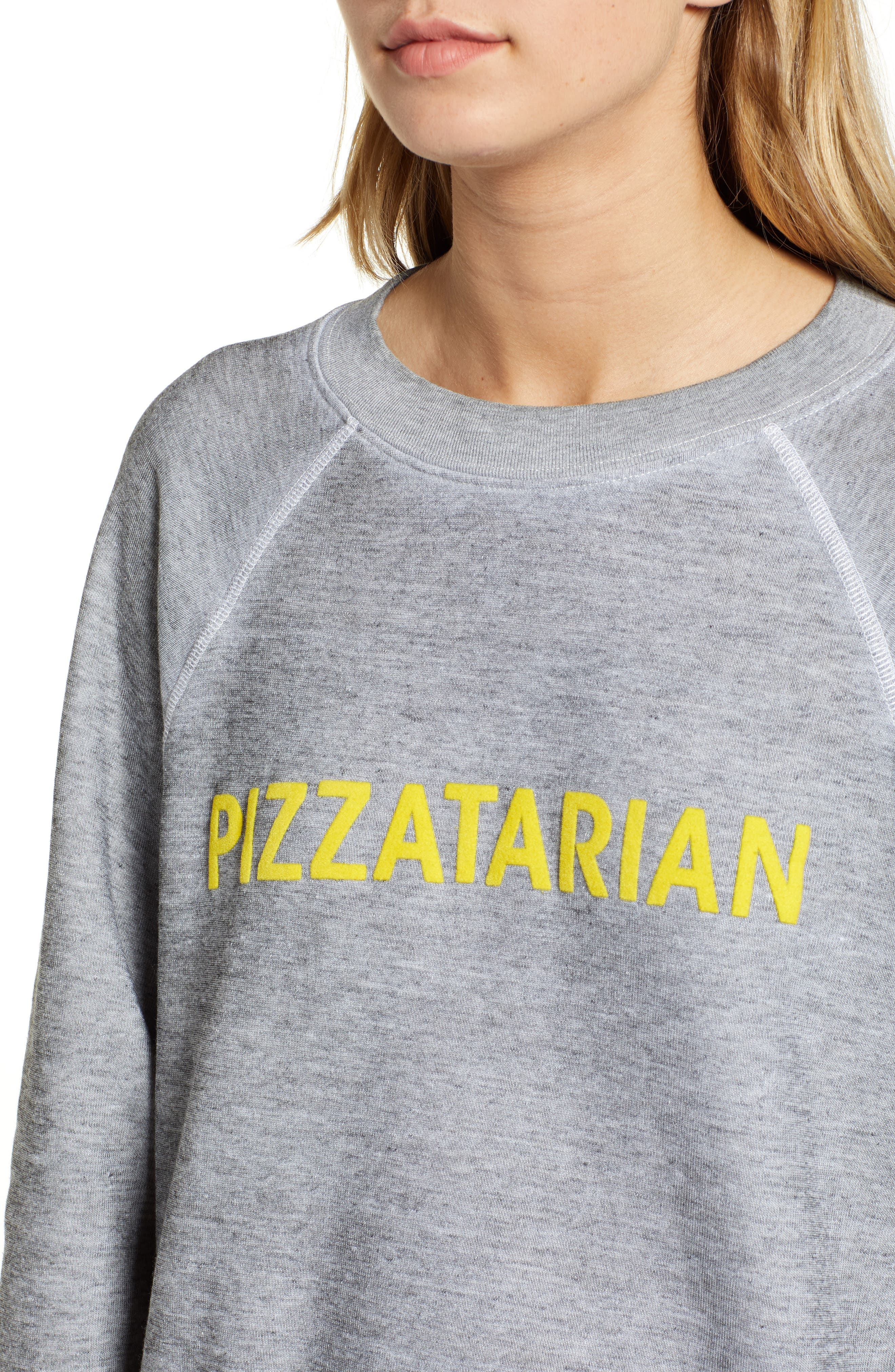Pizzatarian Sommers Sweatshirt,                             Alternate thumbnail 4, color,                             HEATHER