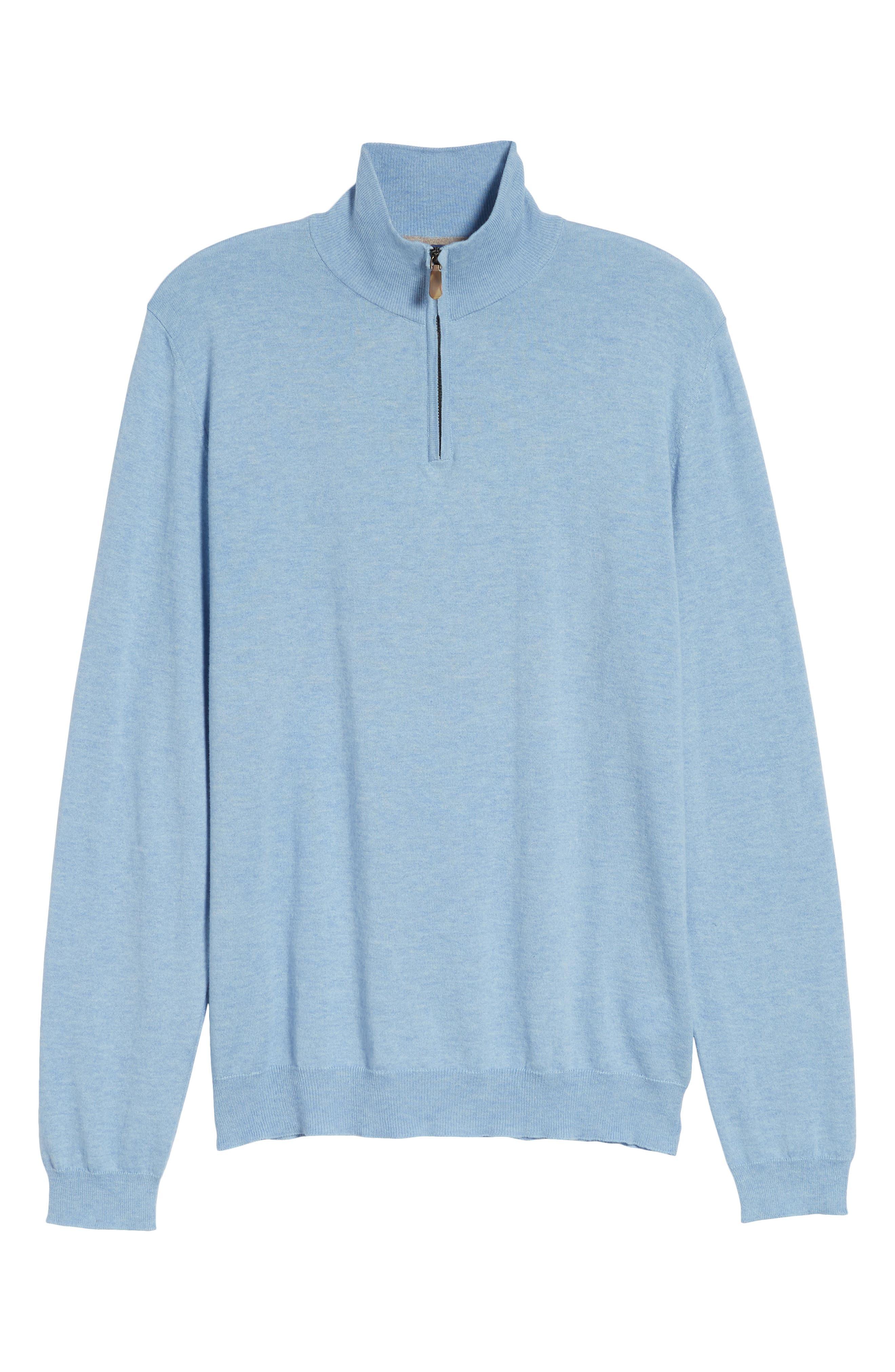 Cotton & Silk Quarter Zip Pullover,                             Alternate thumbnail 6, color,                             454