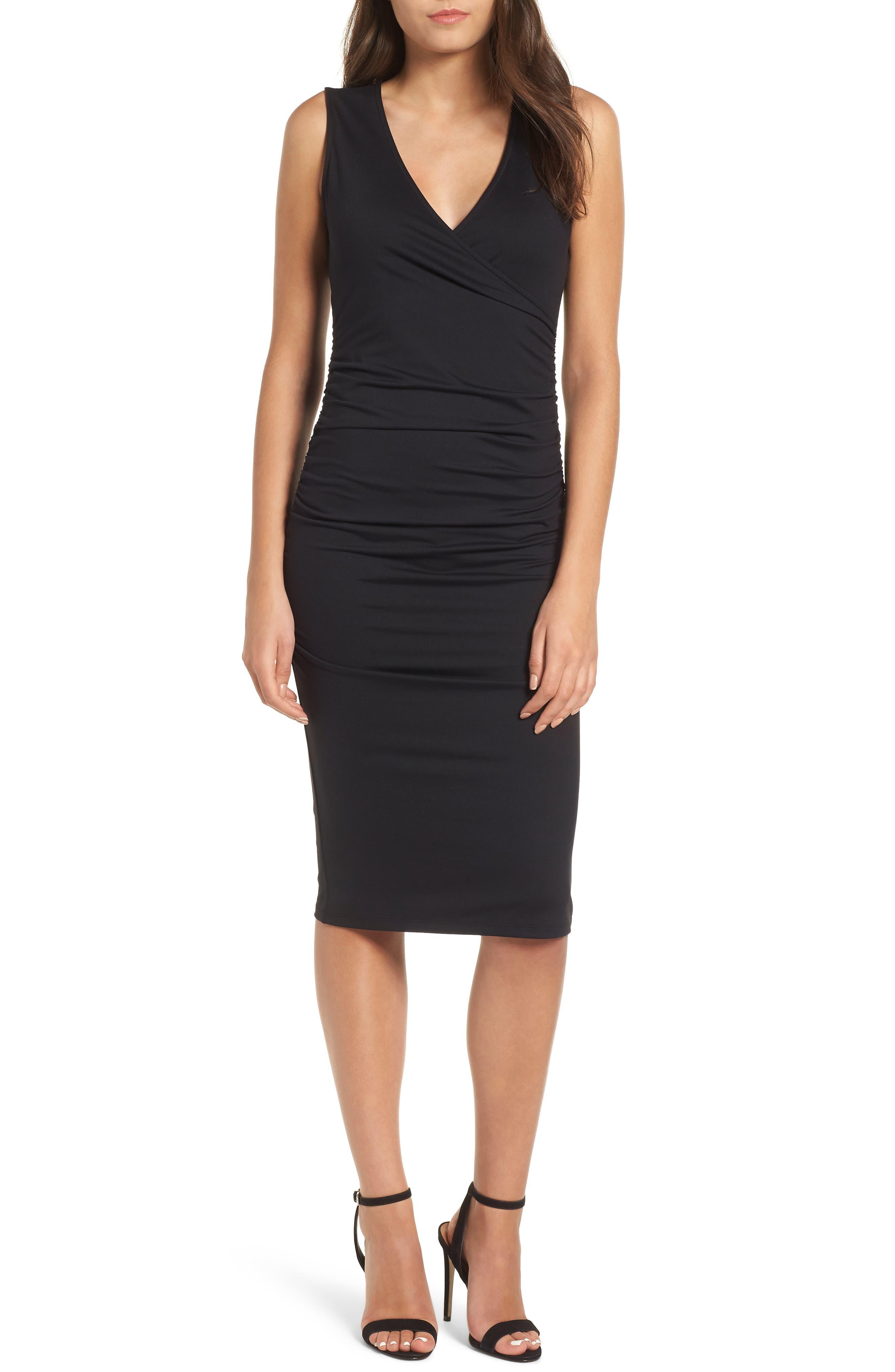 Leith Ruched Sheath Dress, Black