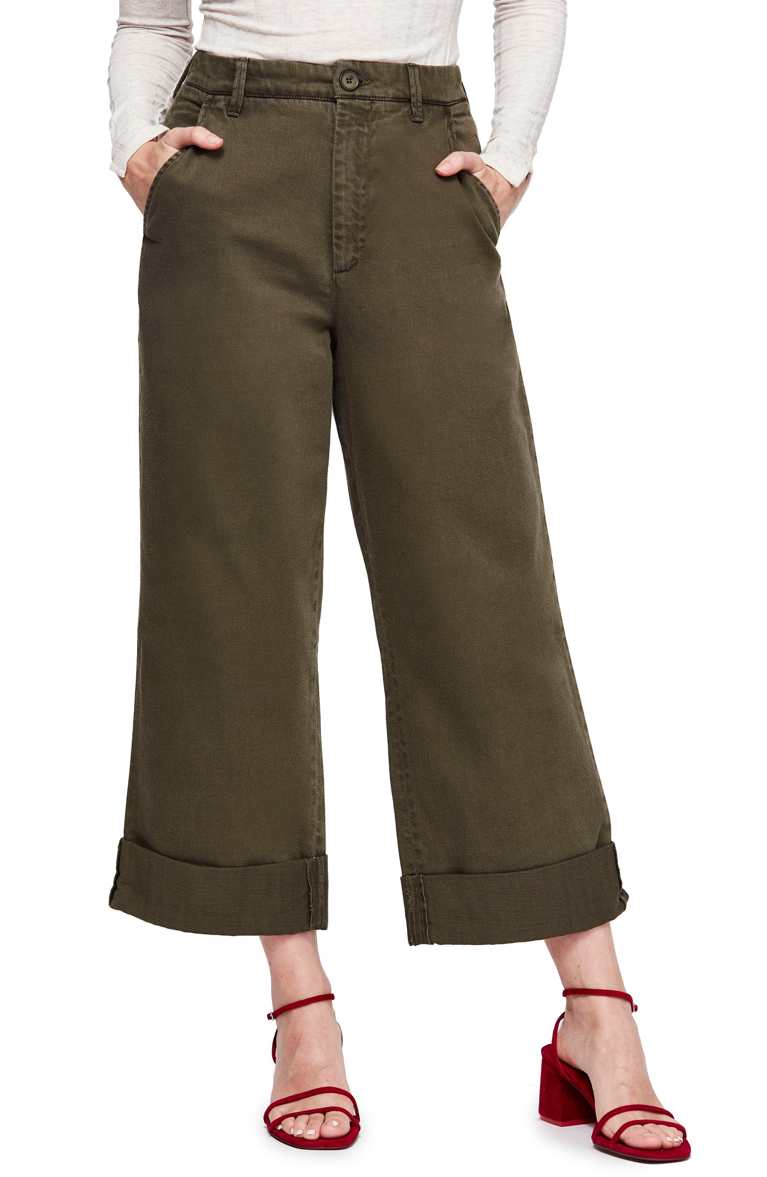 FREE PEOPLE,                             On My Mind Wide Leg Pants,                             Main thumbnail 1, color,                             DARK GREEN