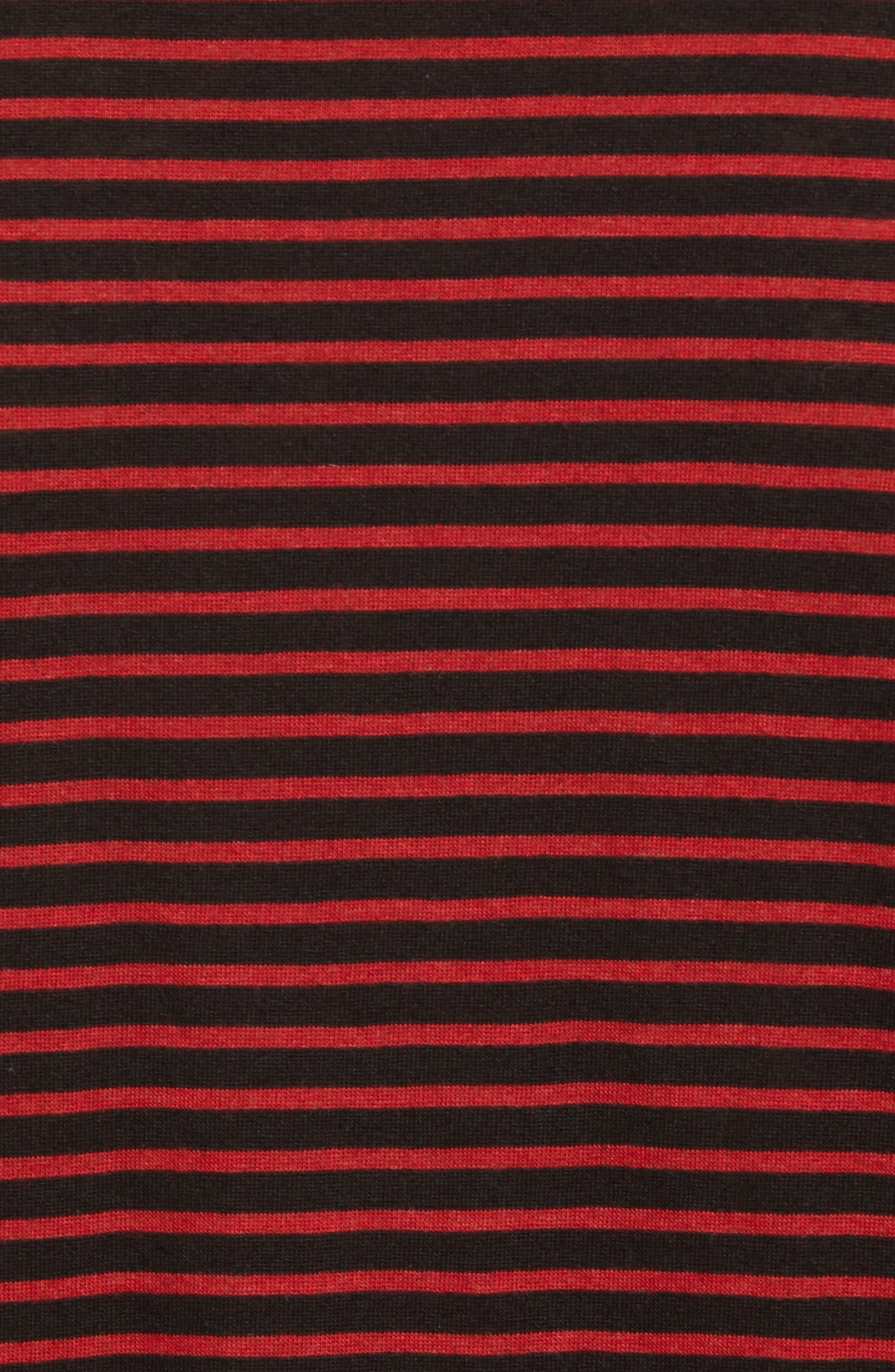 Skull Appliqué Striped Wool Blend T-Shirt,                             Alternate thumbnail 5, color,                             001