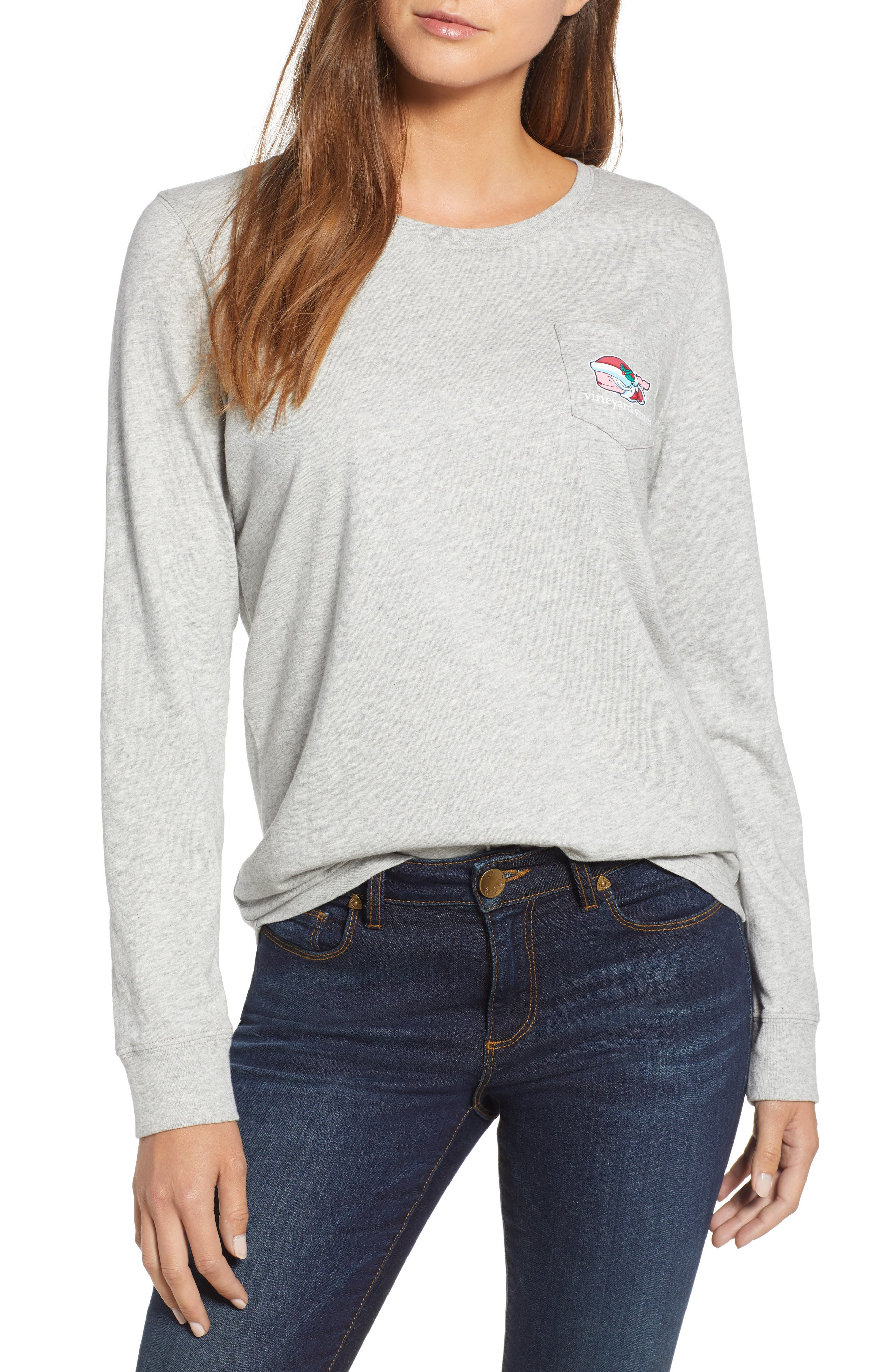 Mrs. Claus Pocket Tee,                         Main,                         color, GRAY HEATHER